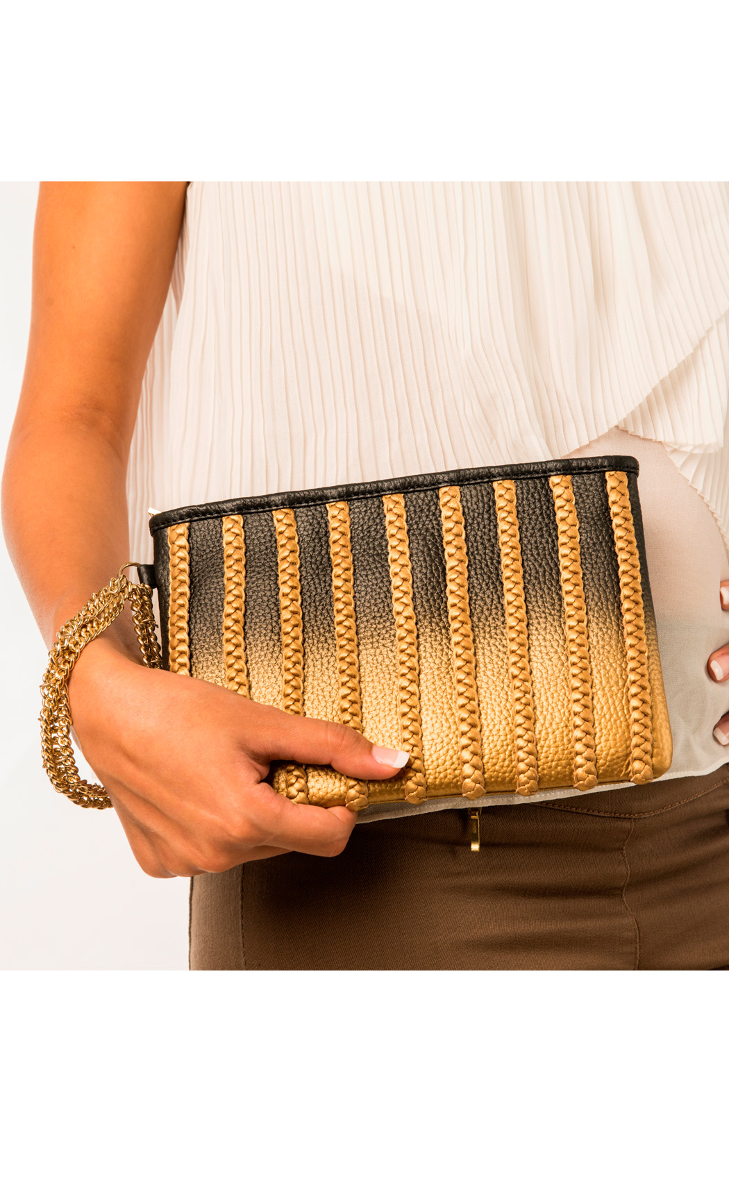 Symphony and Symmetry Plaited Wristlet in Gold-Black. Buy Online