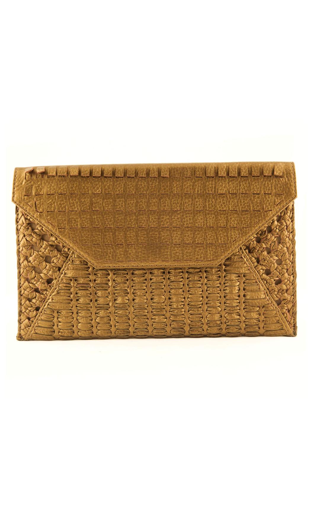Mixed Weave Envelope Clutch In Bronze. Buy Online