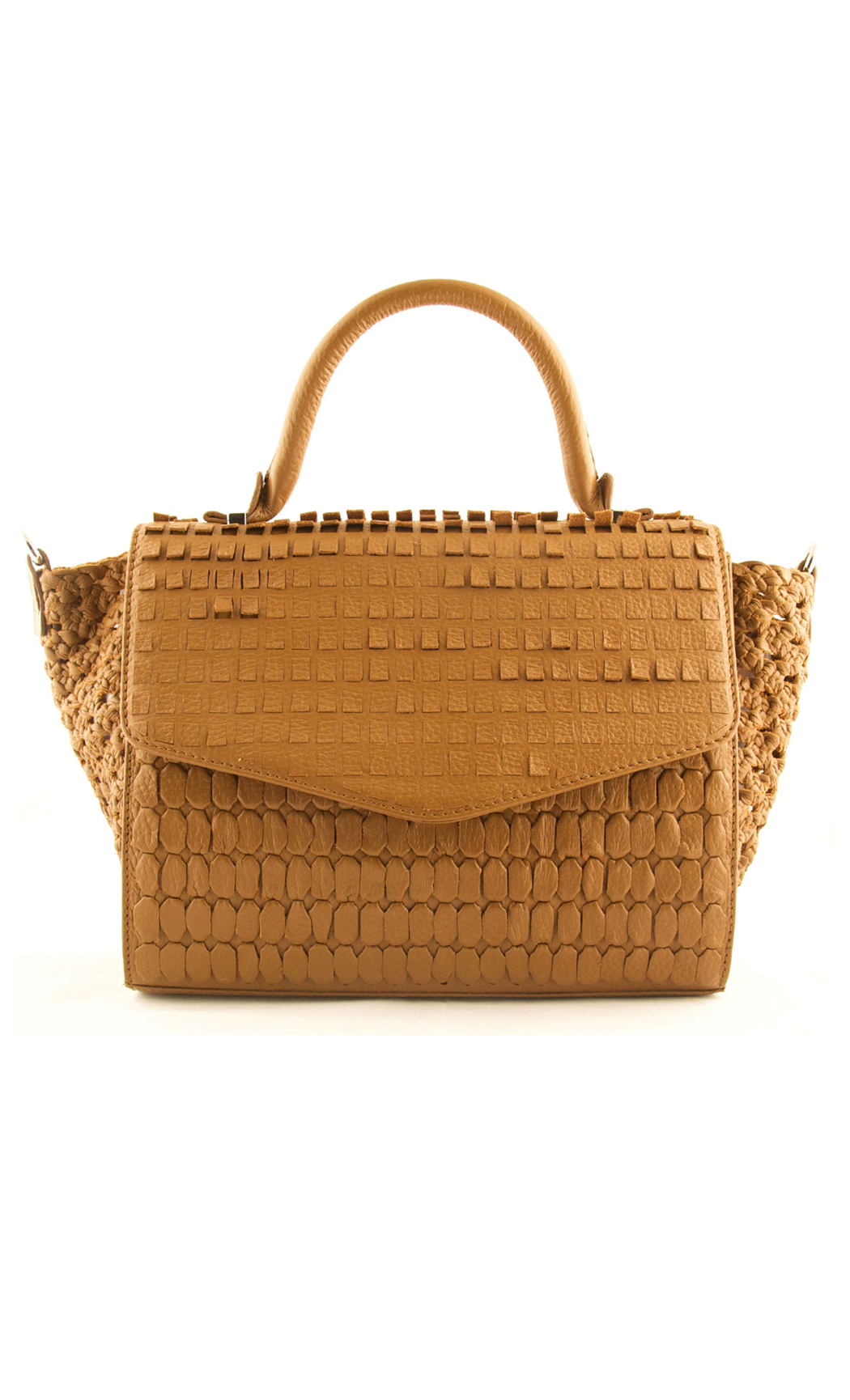 Mixed Weave Curved Flap Satchel in Tan. Buy Online