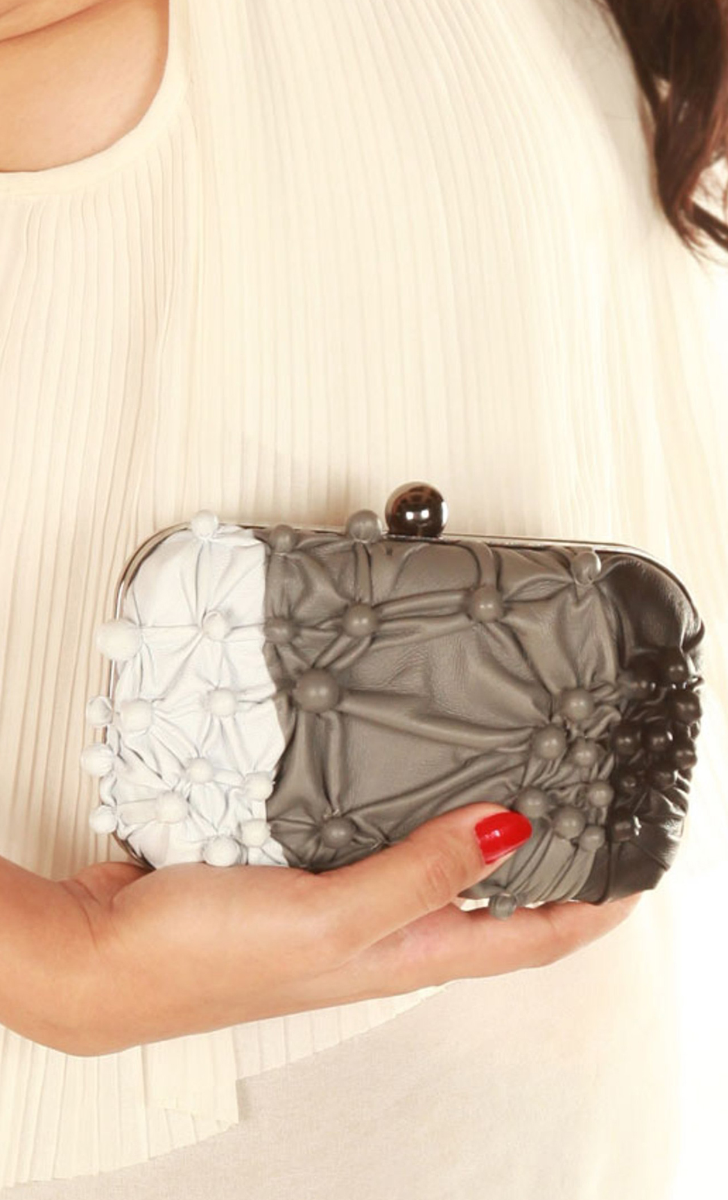 Bubbling Over Box Clutch in Shaded Black. Buy Online