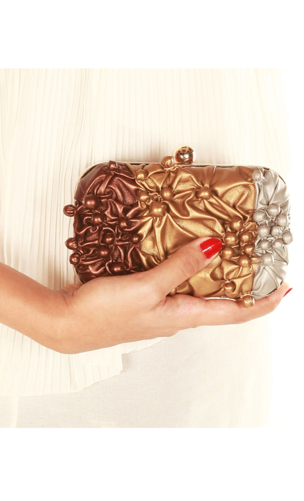 Bubbling Over Box Clutch in Shaded Bronze. Buy Online