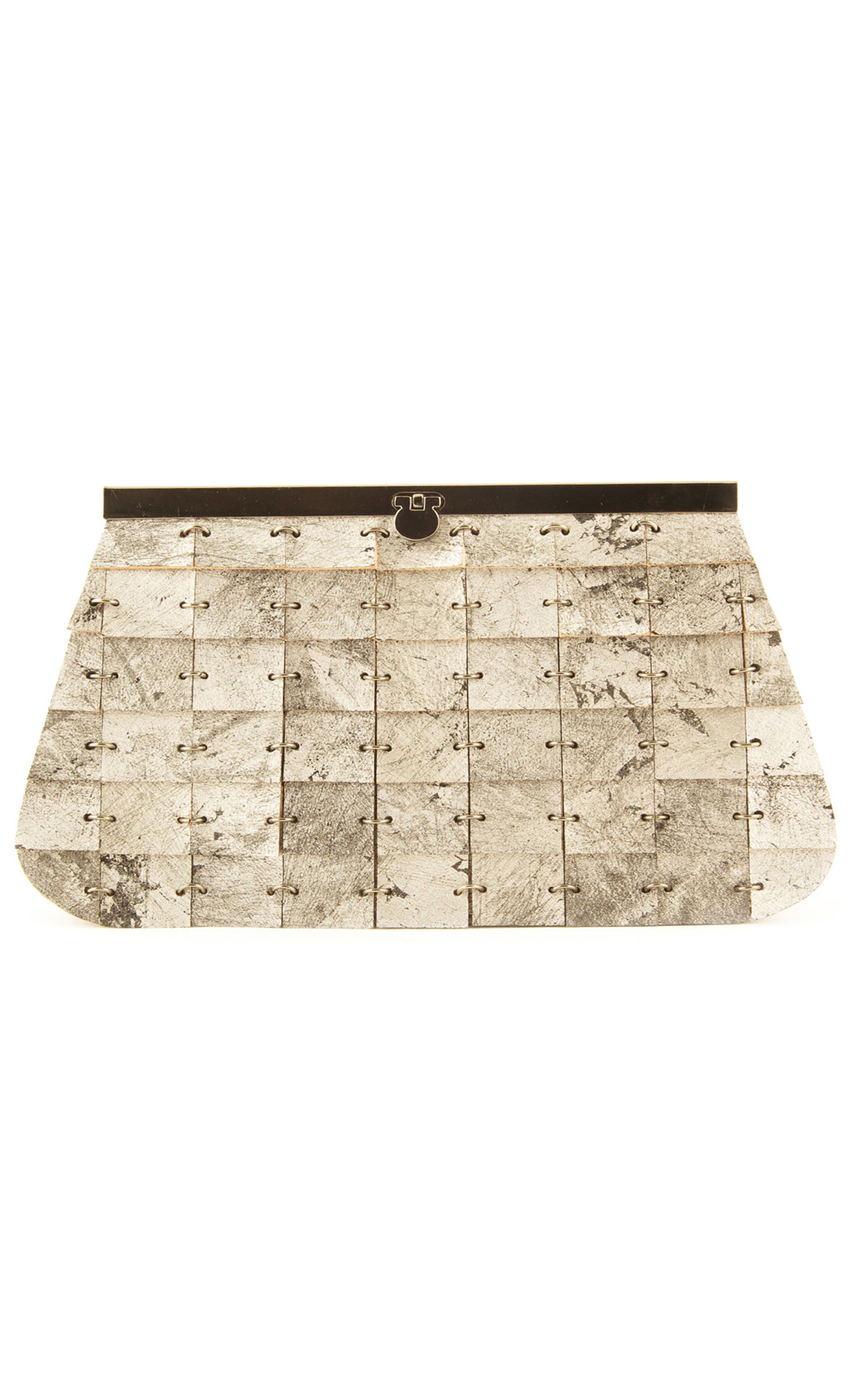 Brick In The Wall Frame Clutch in Silver. Buy Online