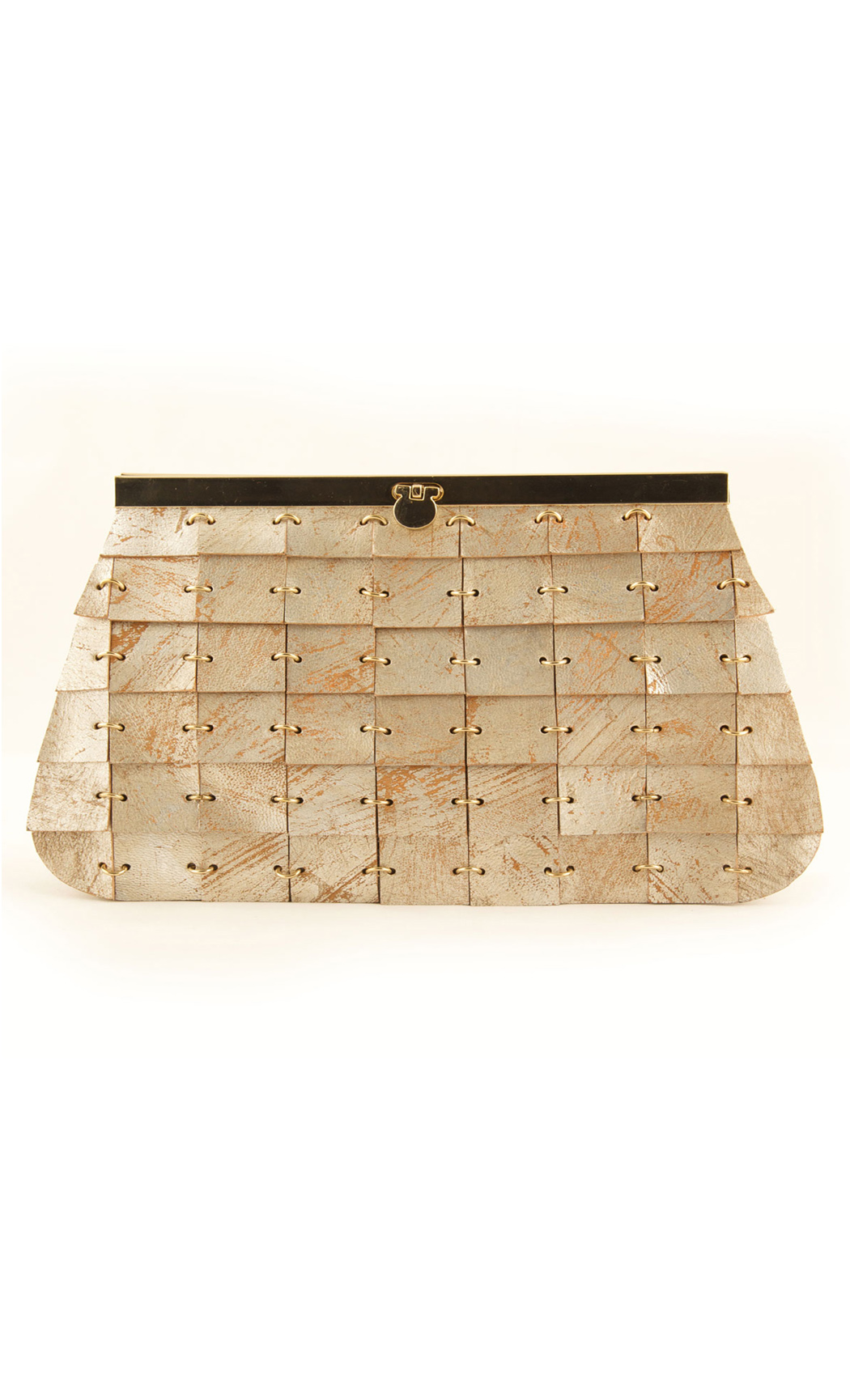 Brick In The Wall Frame Clutch in Gold. Buy Online