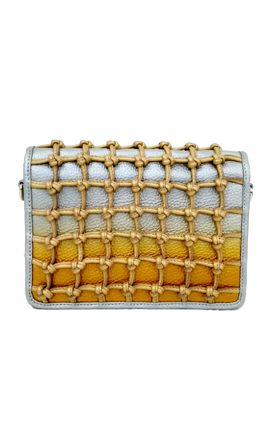 Knot Flap Clutch In Silver-Gold. Buy Online