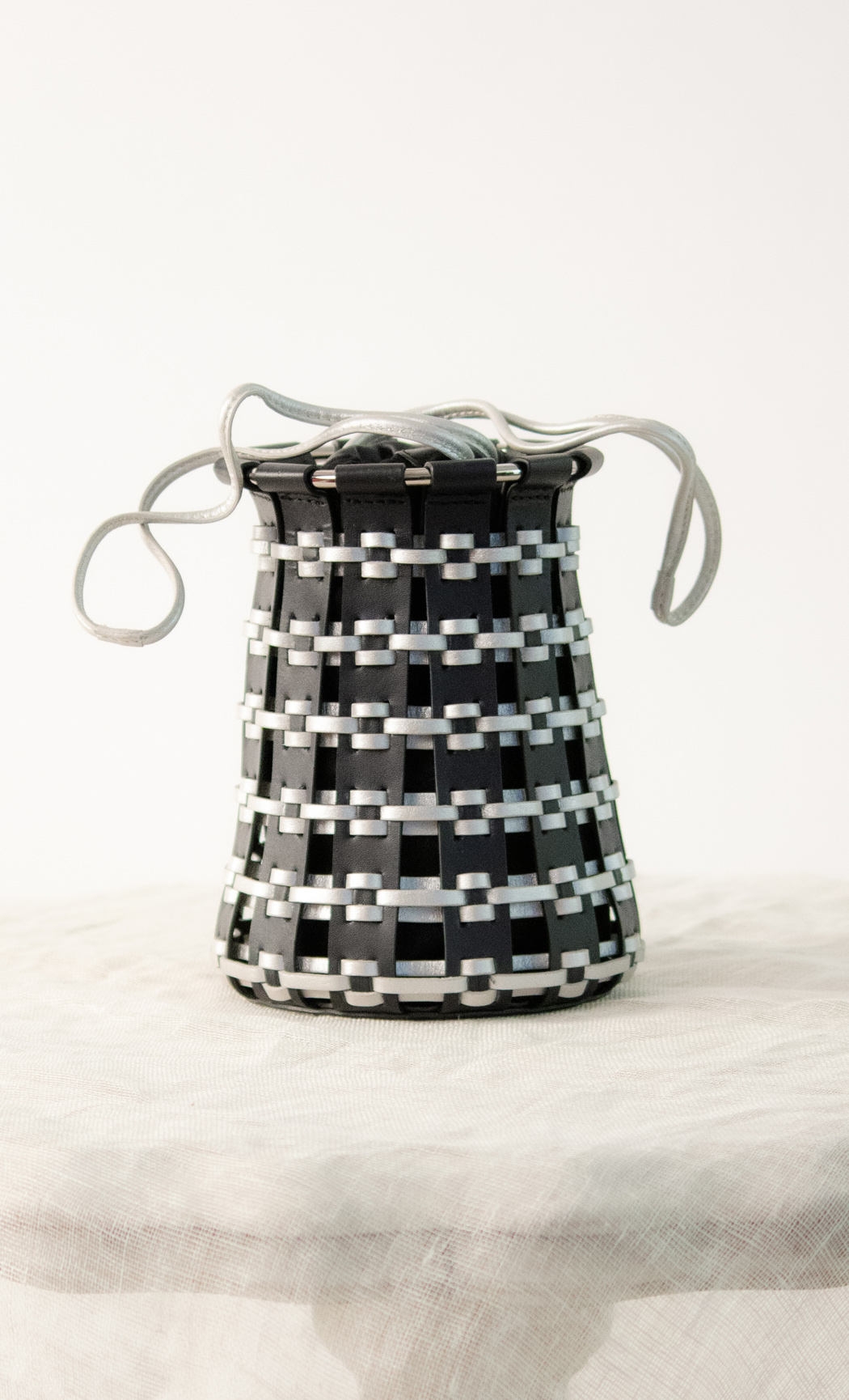 Lantern Potli in Silver-Black. Buy Online