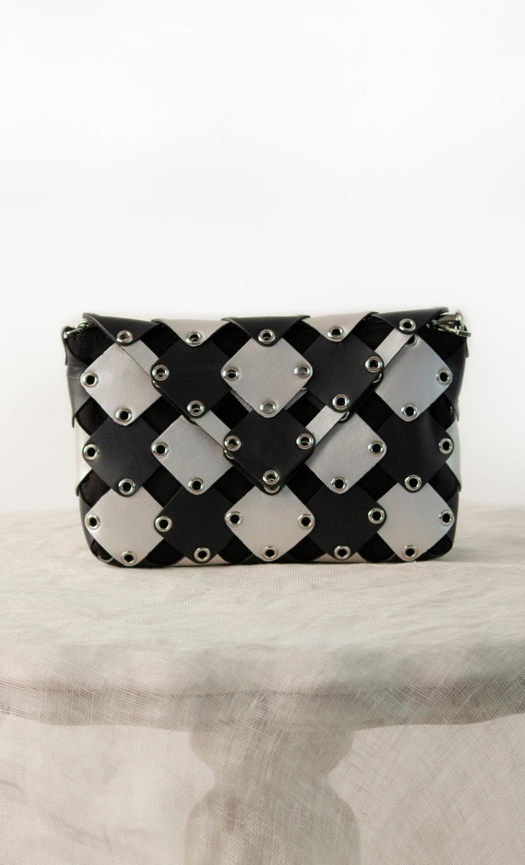 Square Stud Clutch in Silver-Black. Buy Online