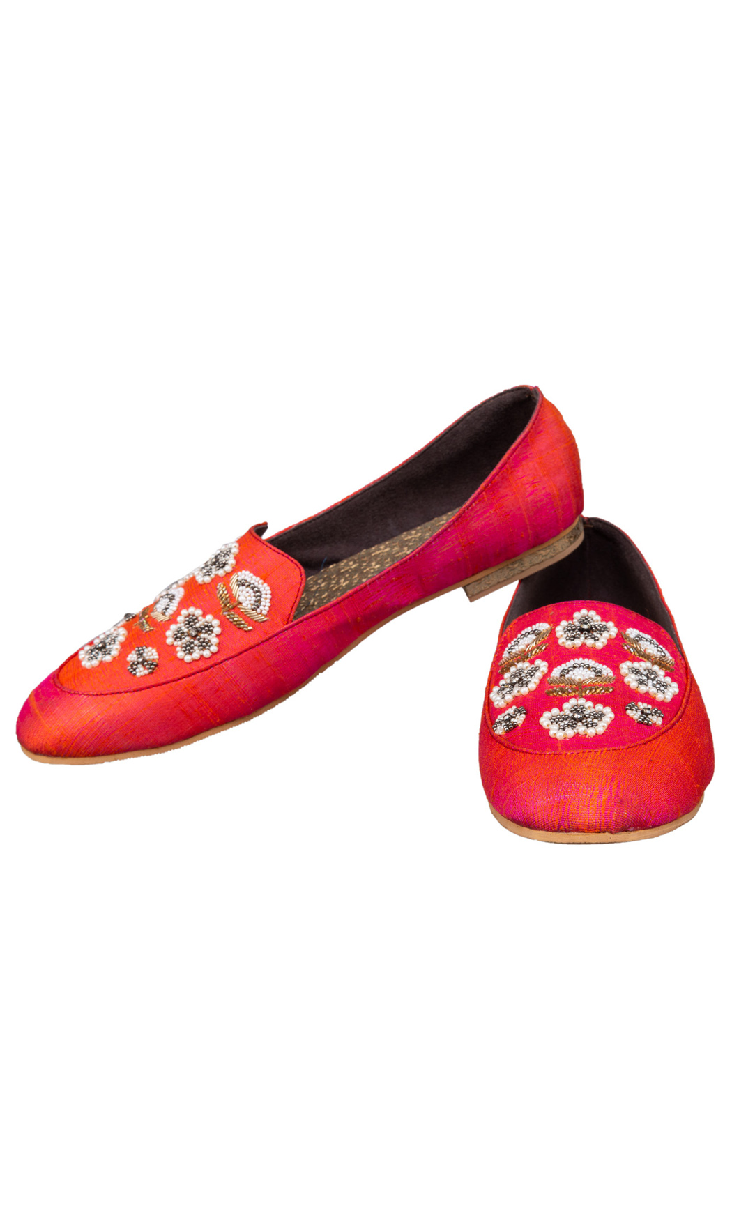 Orange Pearls and Sequins Loafers - Buy Online