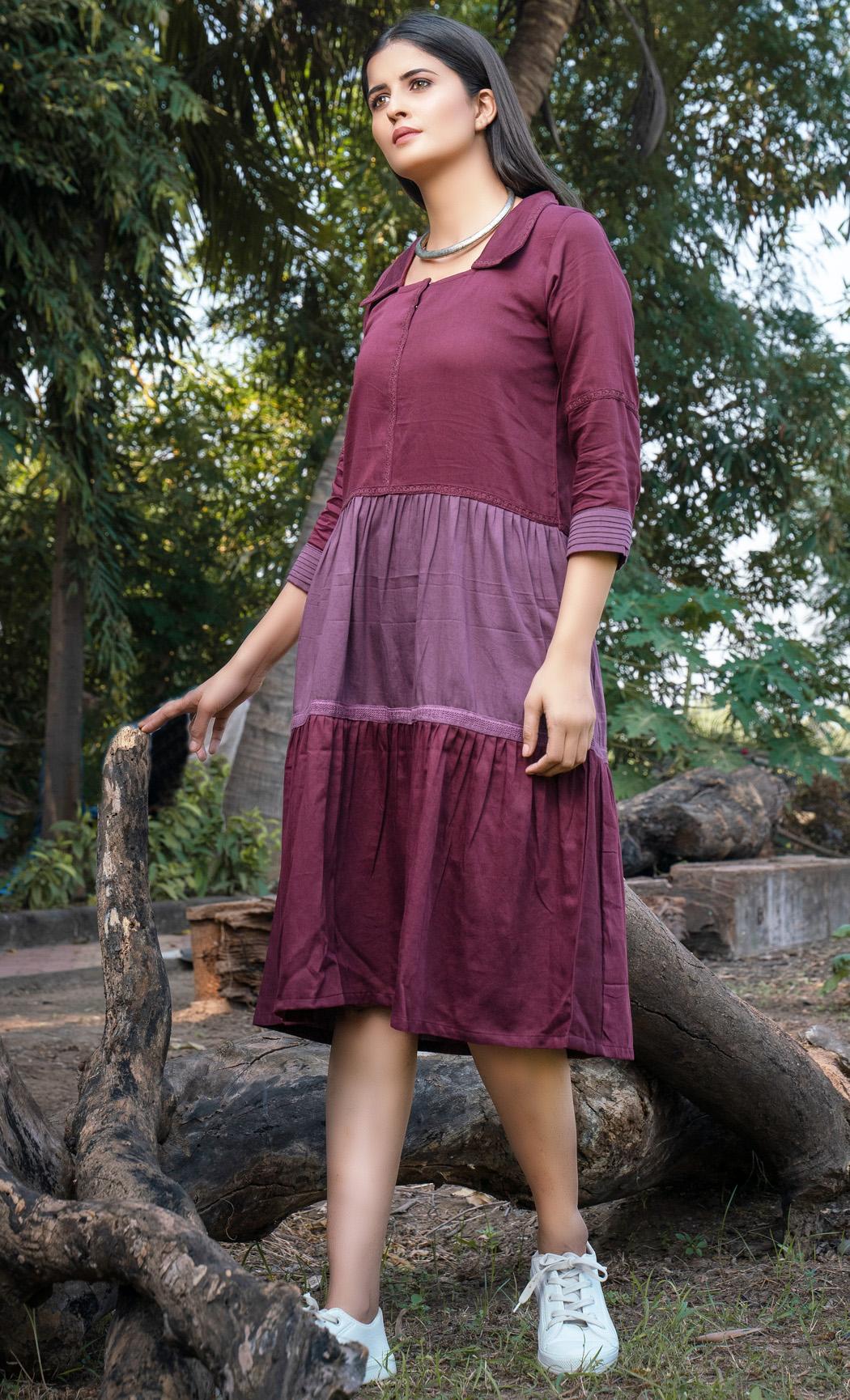 Purple Pleated Dress. Buy Online