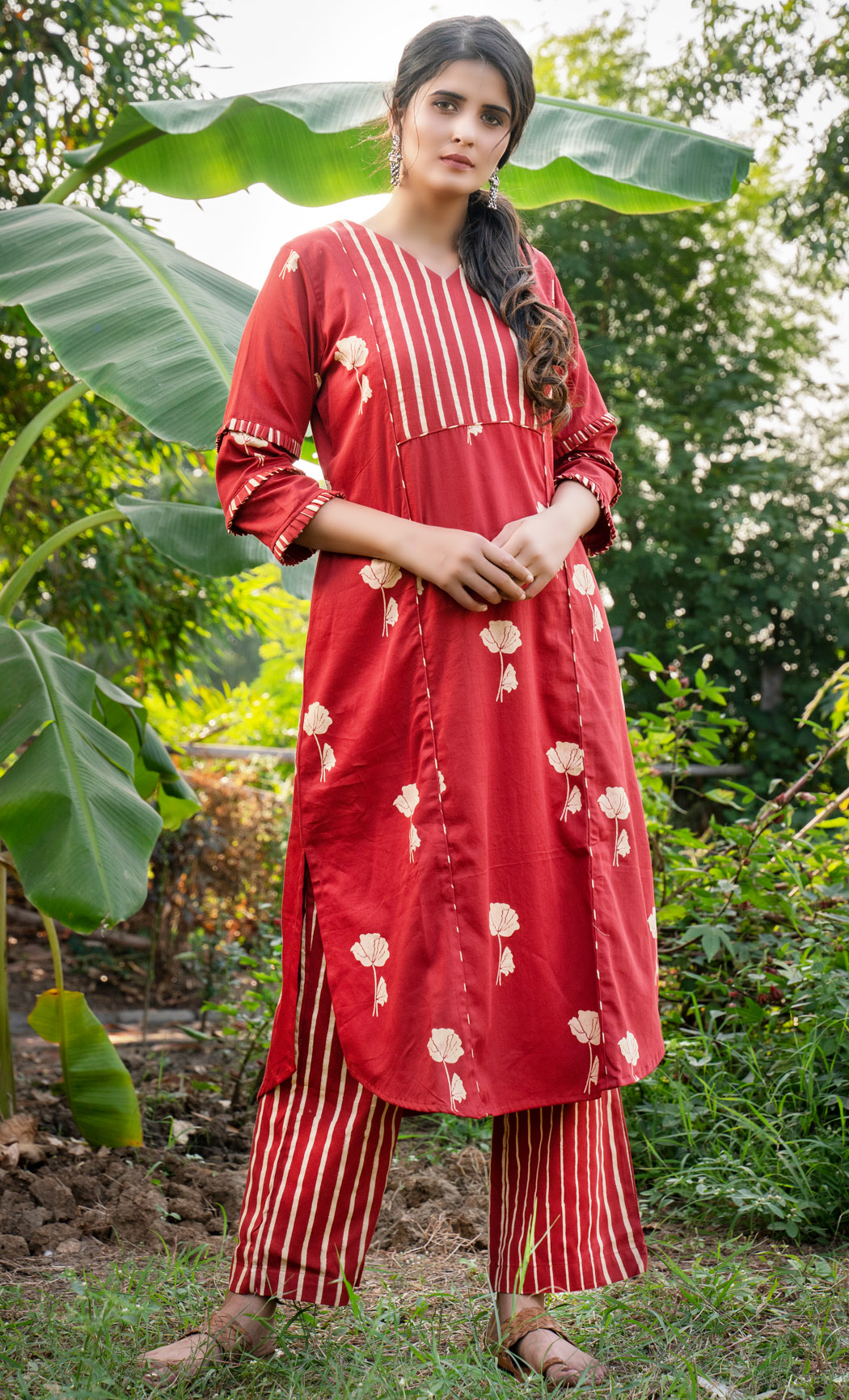 Red Kurta and Pants Set. Buy Online