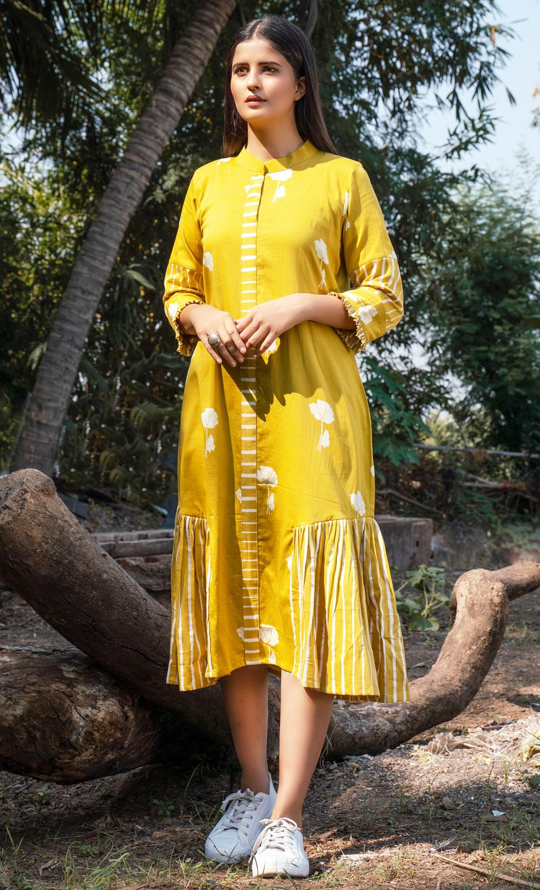 Mustard Floral Printed Dress. Buy Online