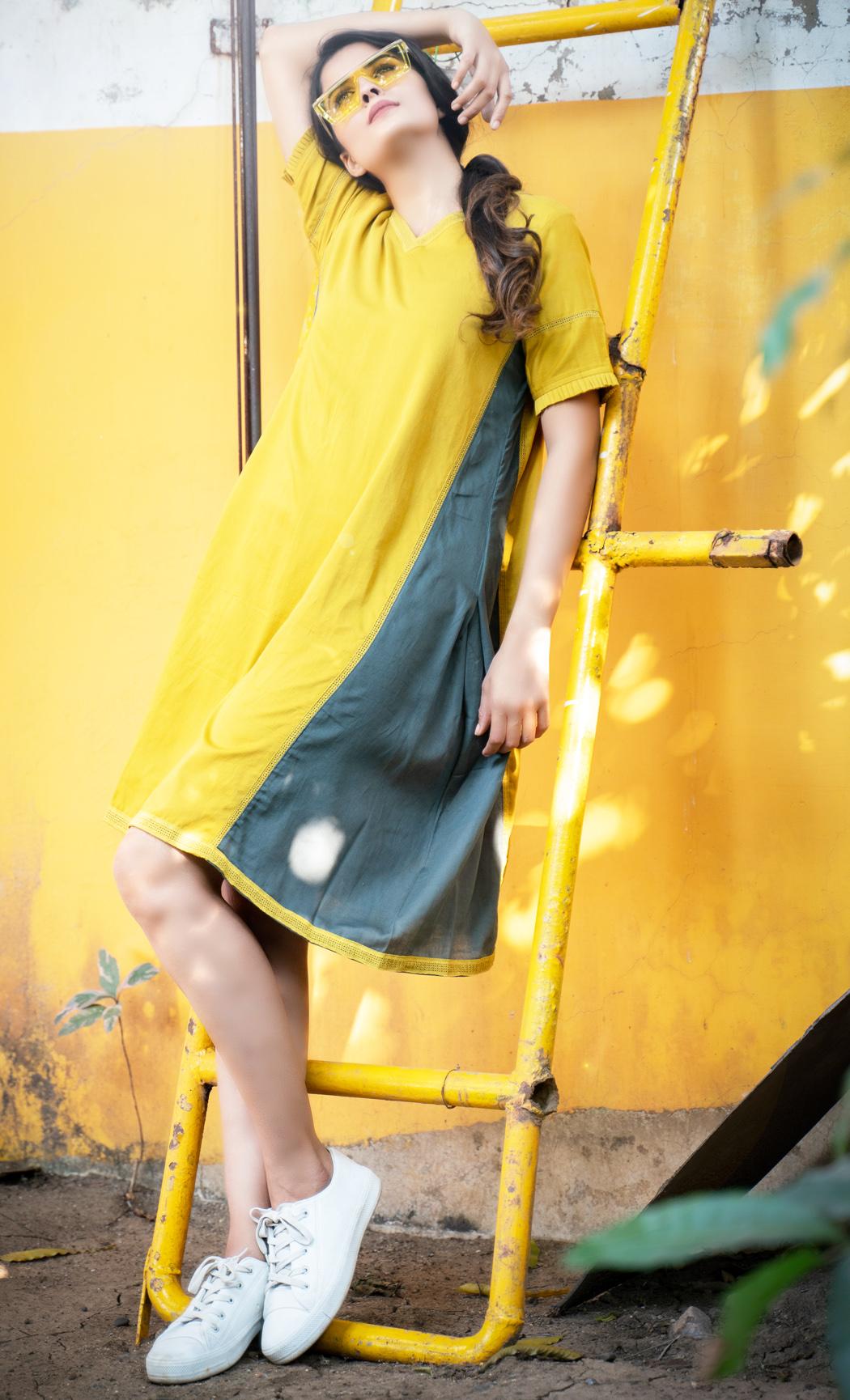 Mustard and Green Short Dress. Buy Online