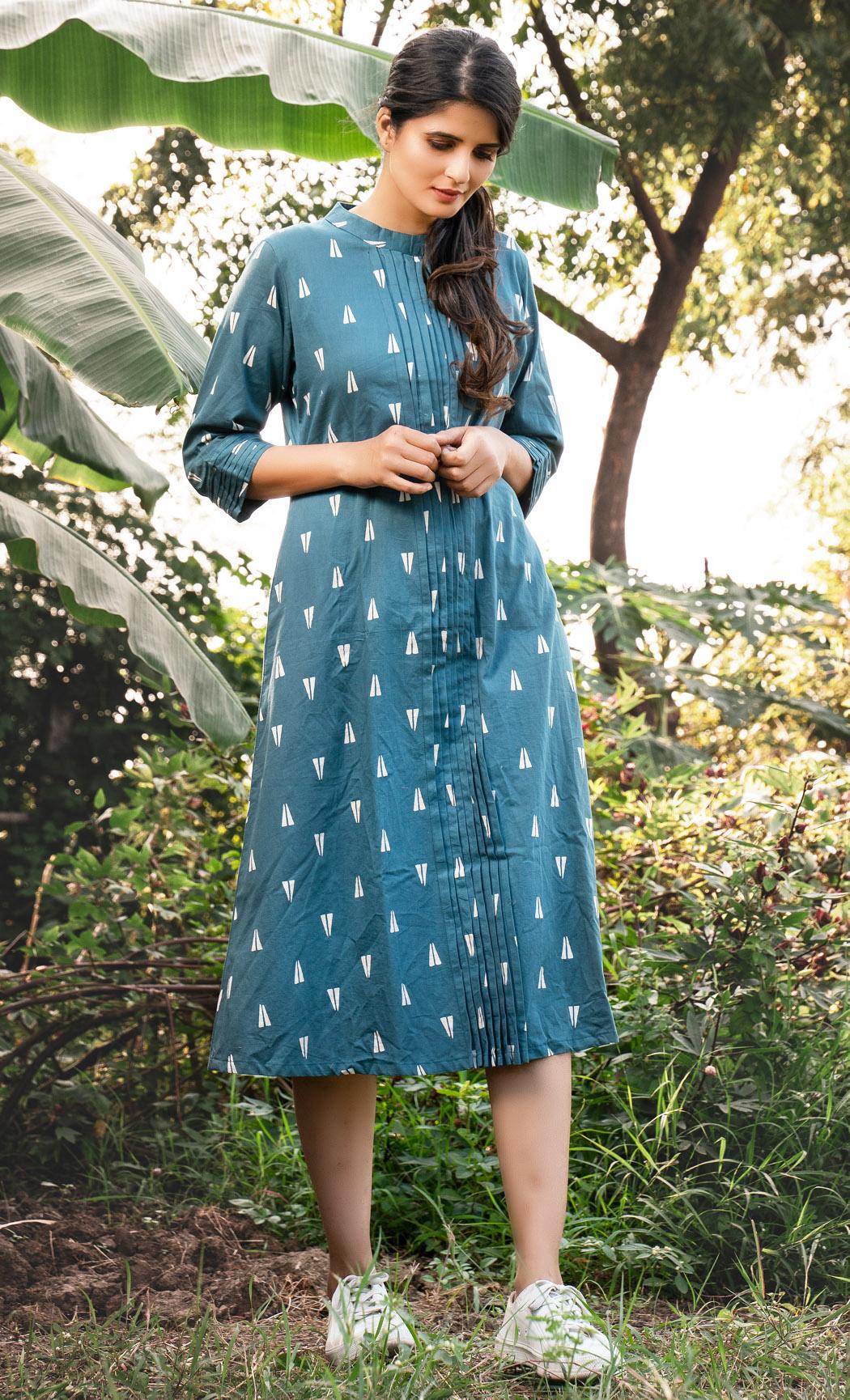Blue Printed Dress. Buy Online