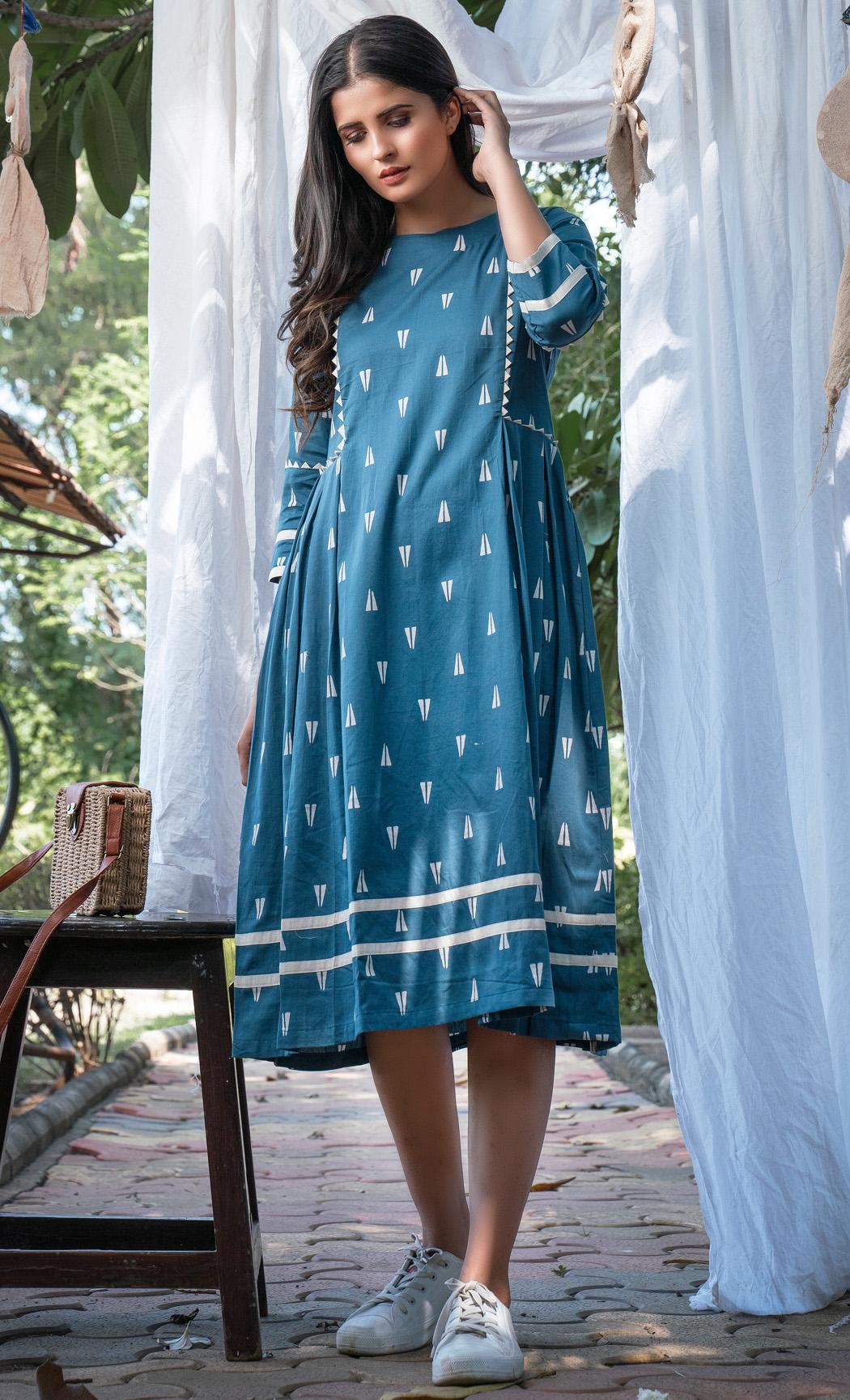 Blue Printed Side Pleated Dress. Buy Online