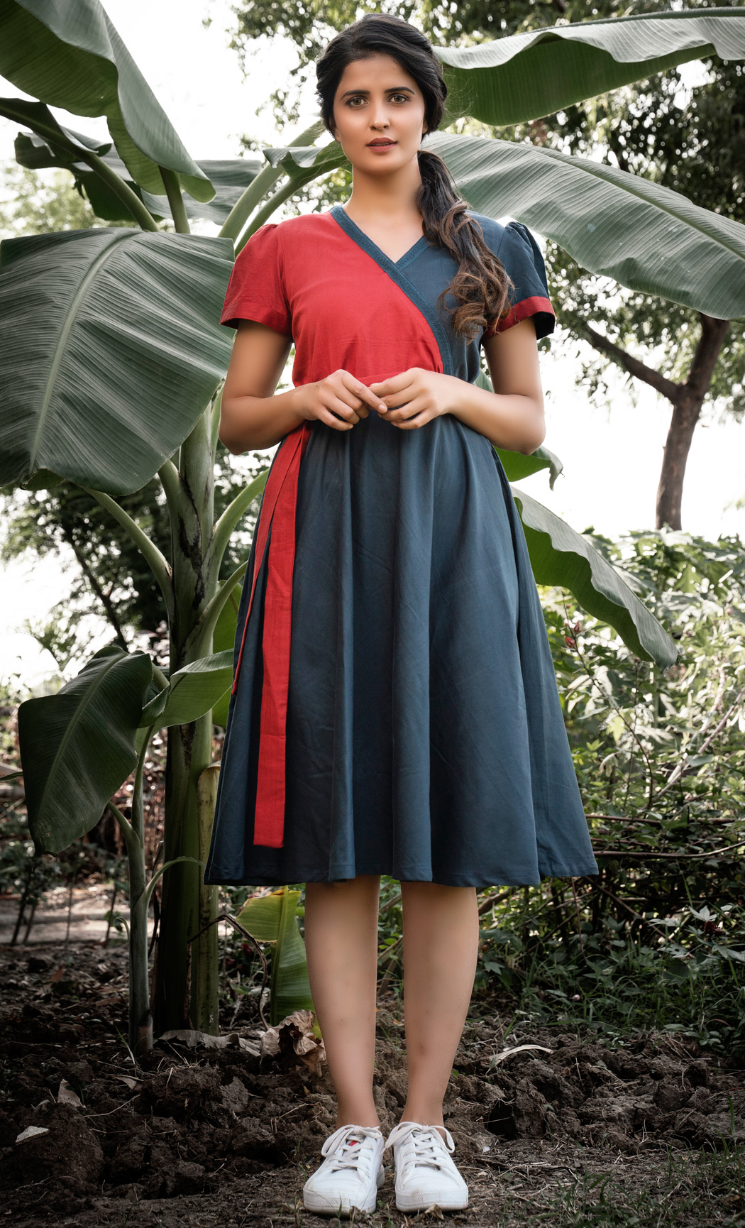 Red and Blue Overlap Dress. Buy Online