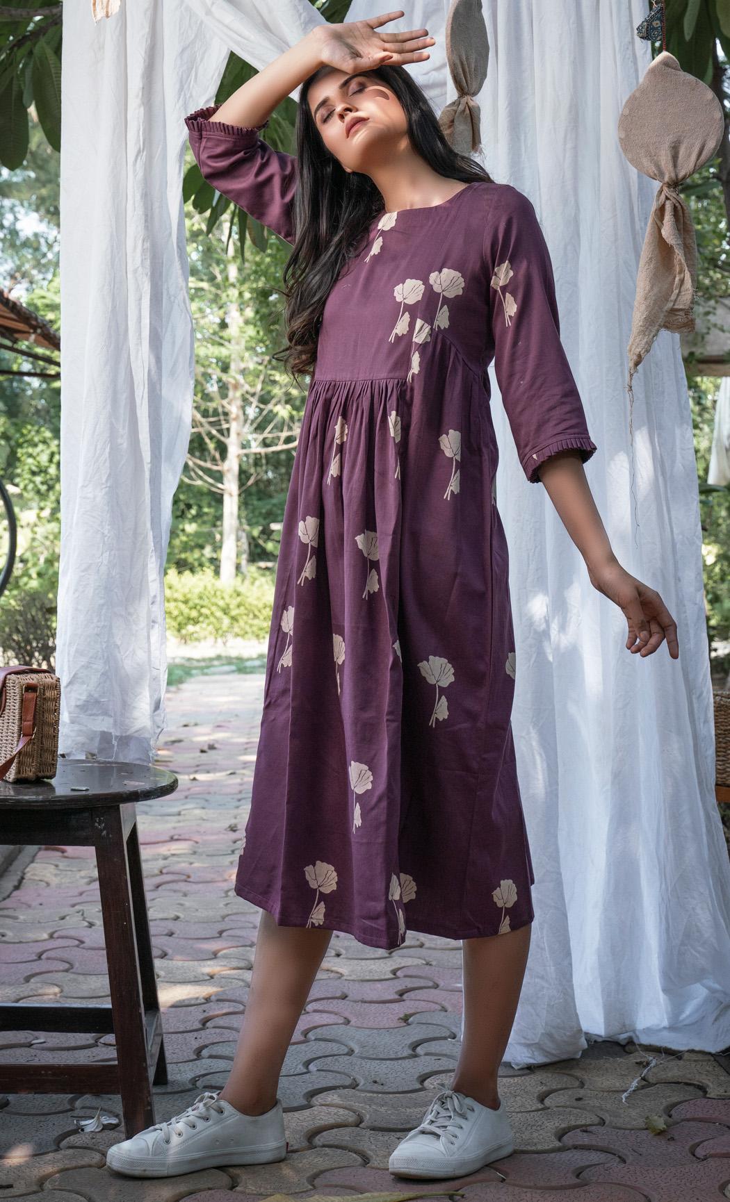 Purple Floral Printed Dress. Buy Online