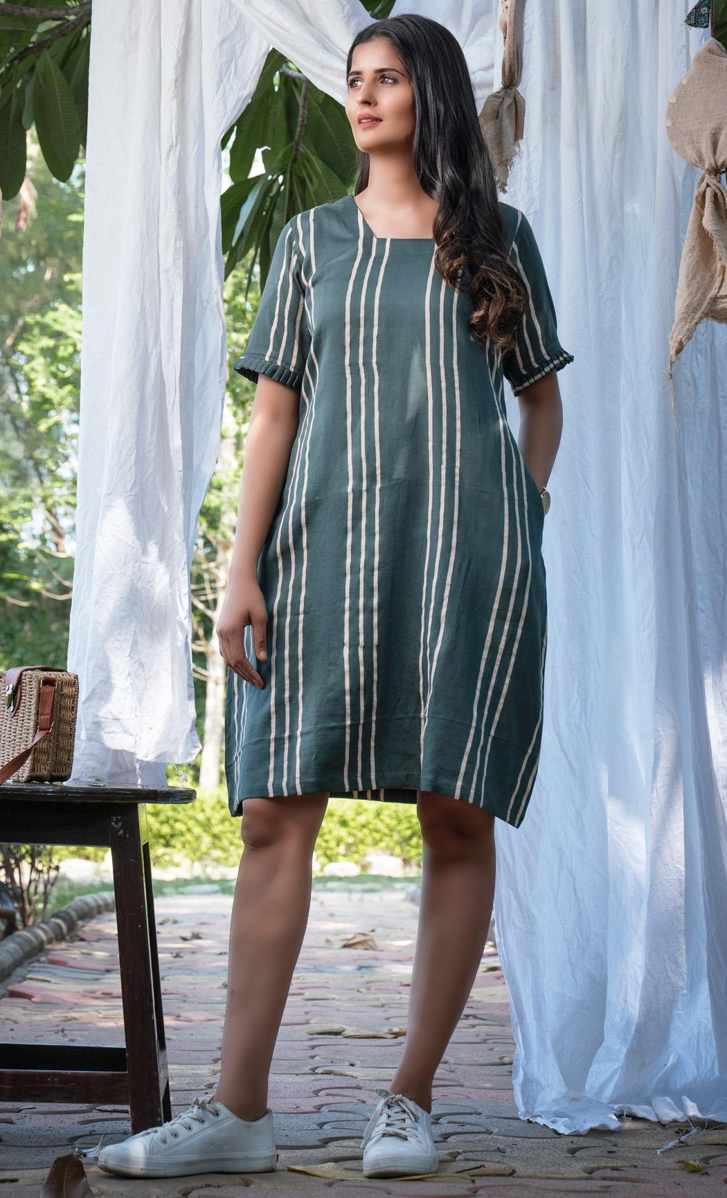 Olive Striped Dress. Buy Online