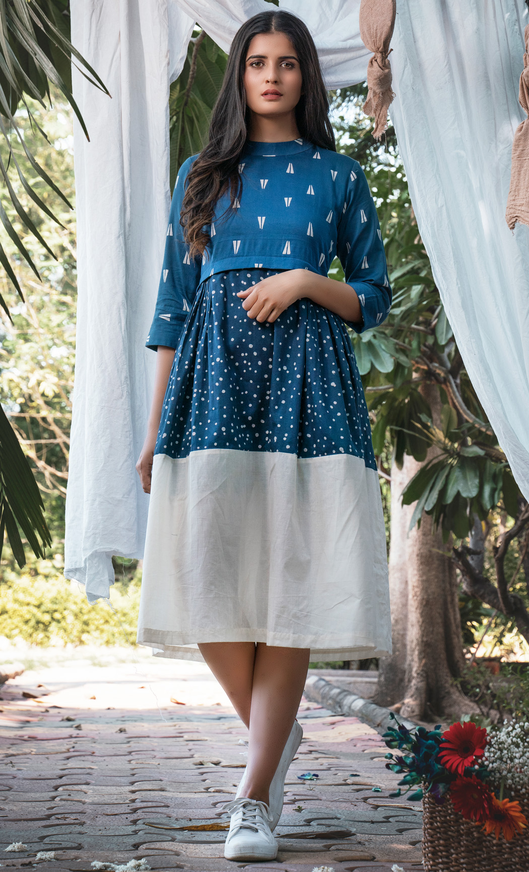 Blue and White Printed Dress. Buy Online