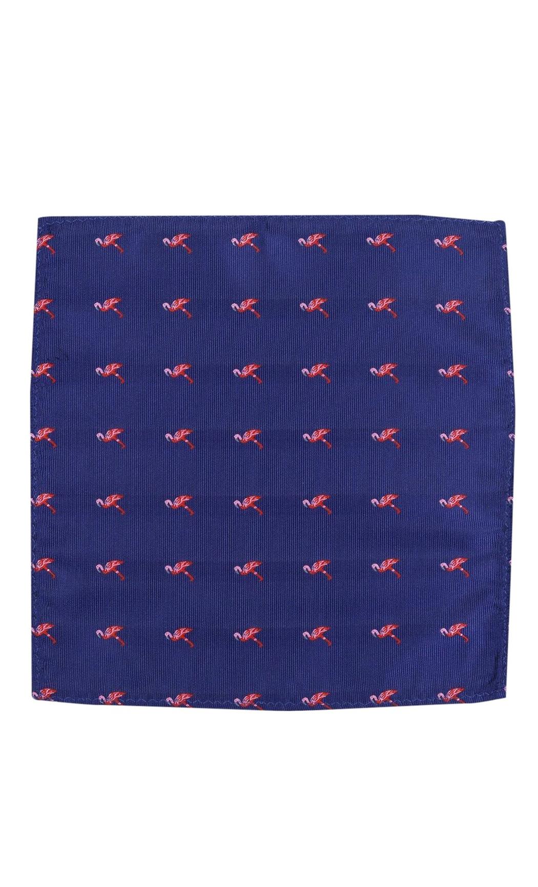 Blue Flamingo Woven Pocket Square. Buy Online