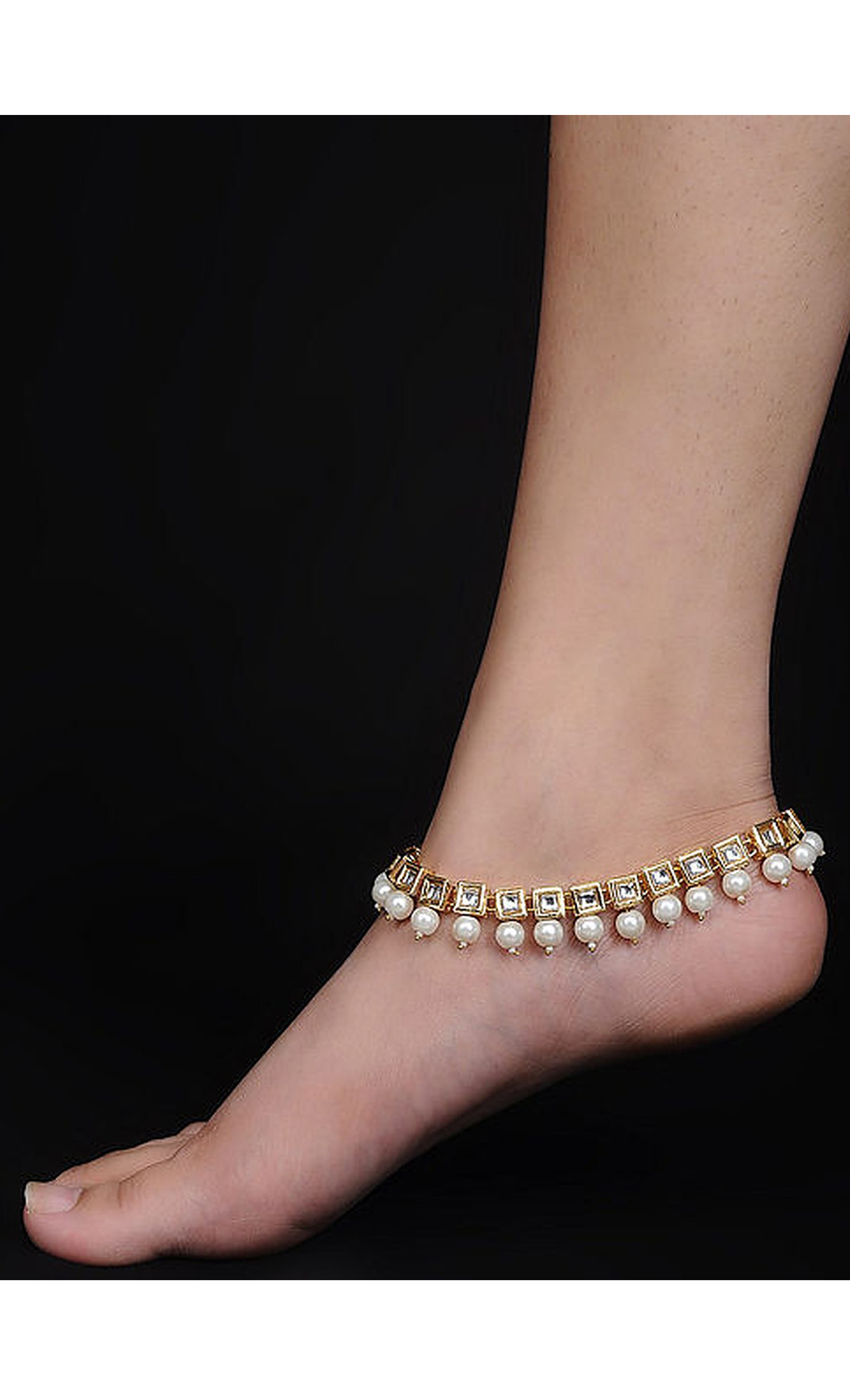 Gold Kundan and Pearl Beaded Anklets. Buy Online