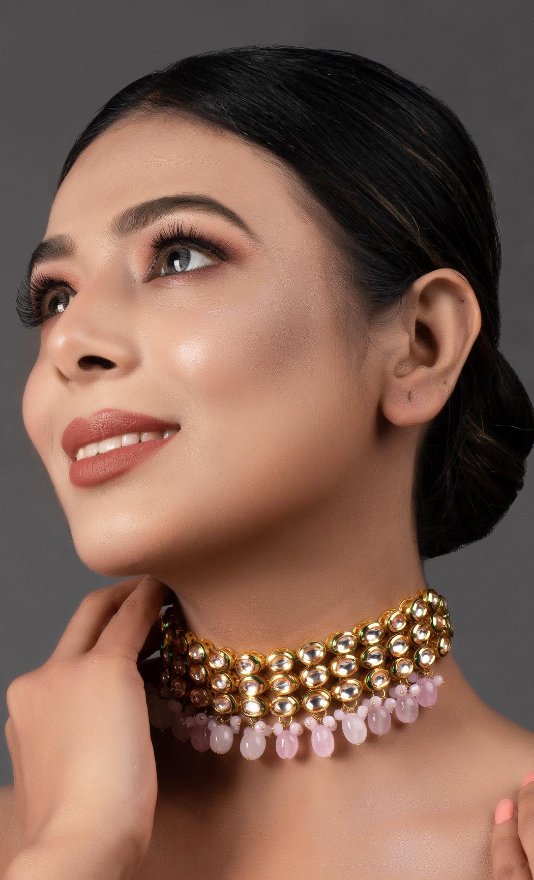 Pink and Gold Tone Kundan Choker. Buy Online