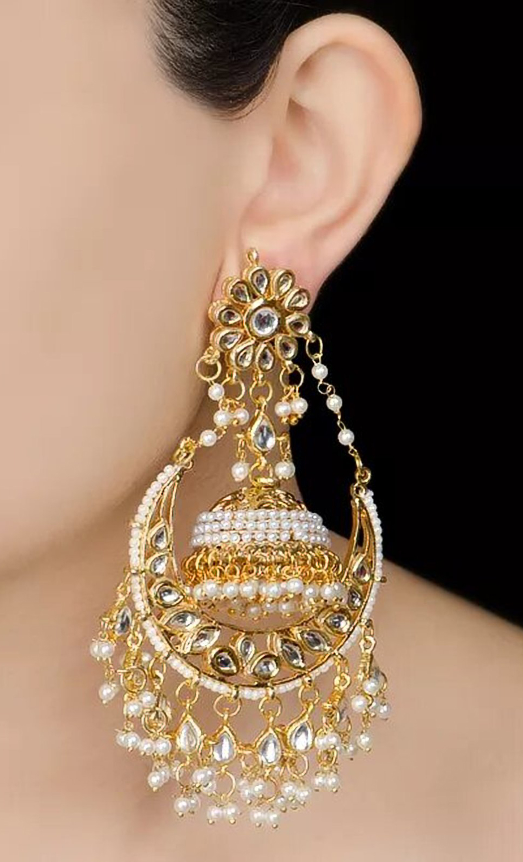 Gold Kundan Embellished Chandbali. Buy Online