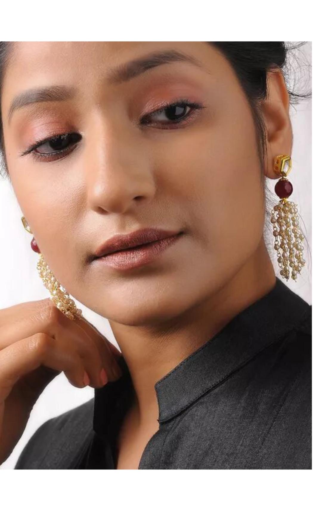 Maroon and Gold Tone Kundan Earrings. Buy Online