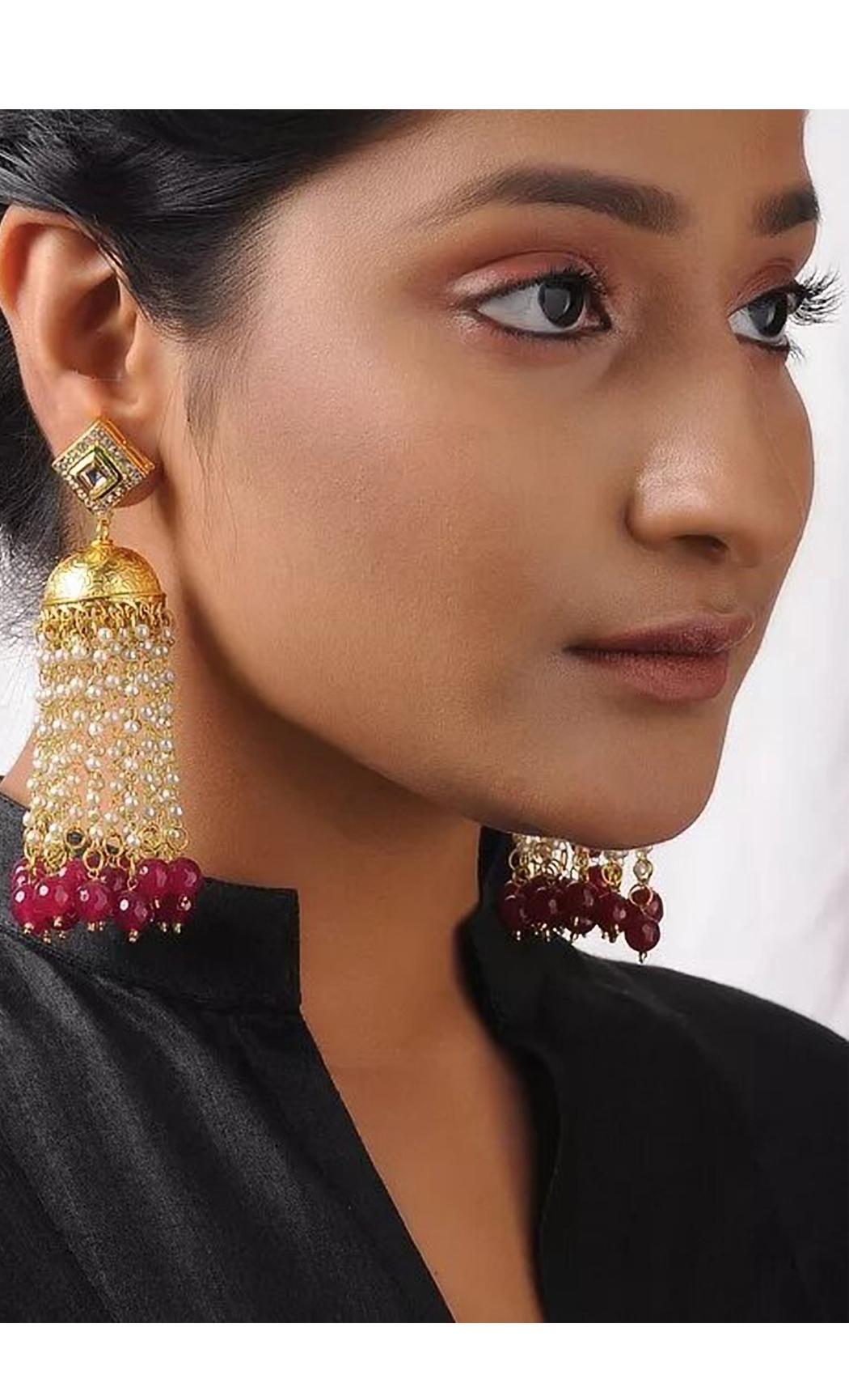 Gold Kundan Tassle Earrings. Buy Online