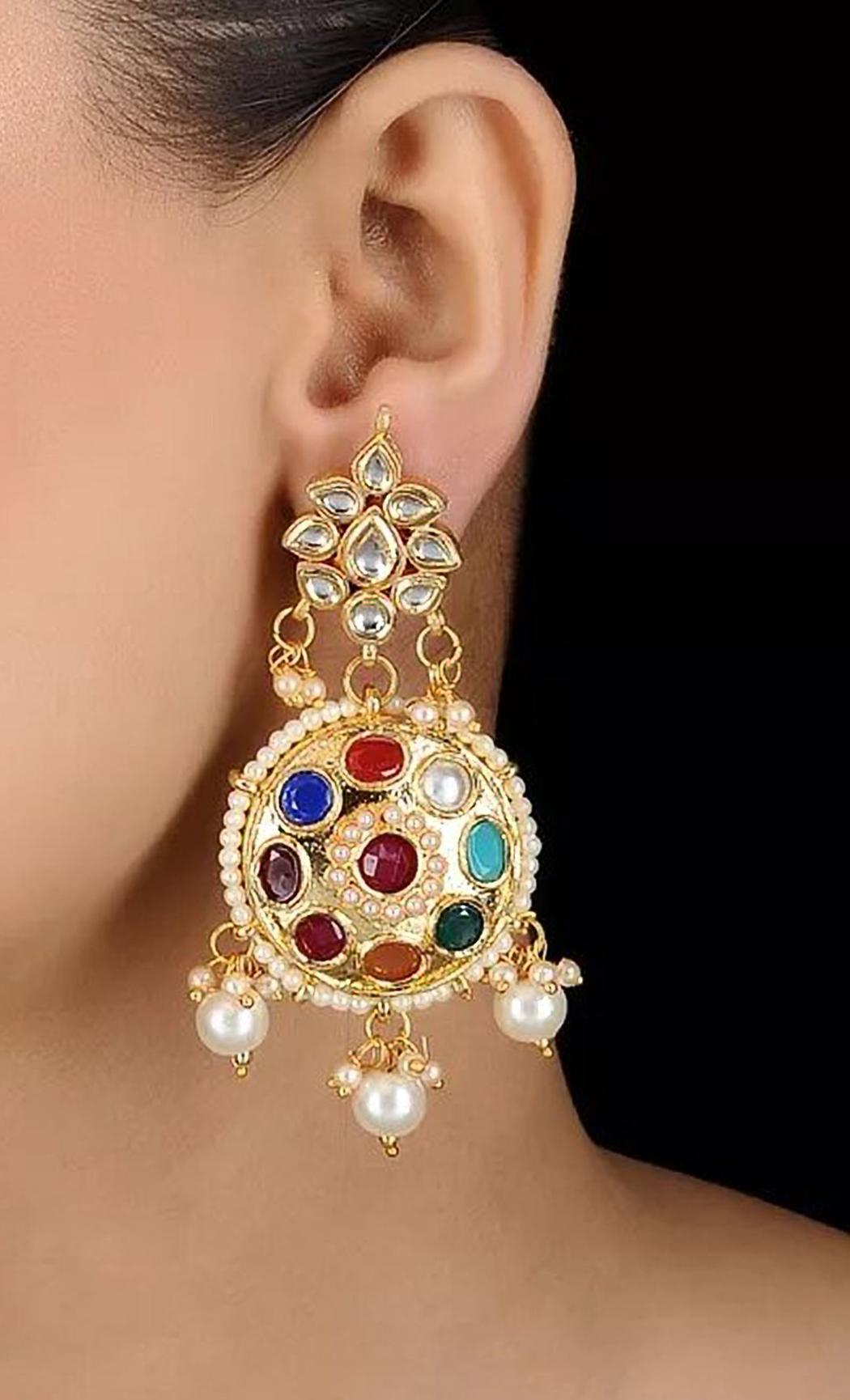 Navratan Kundan Earrings. Buy Online