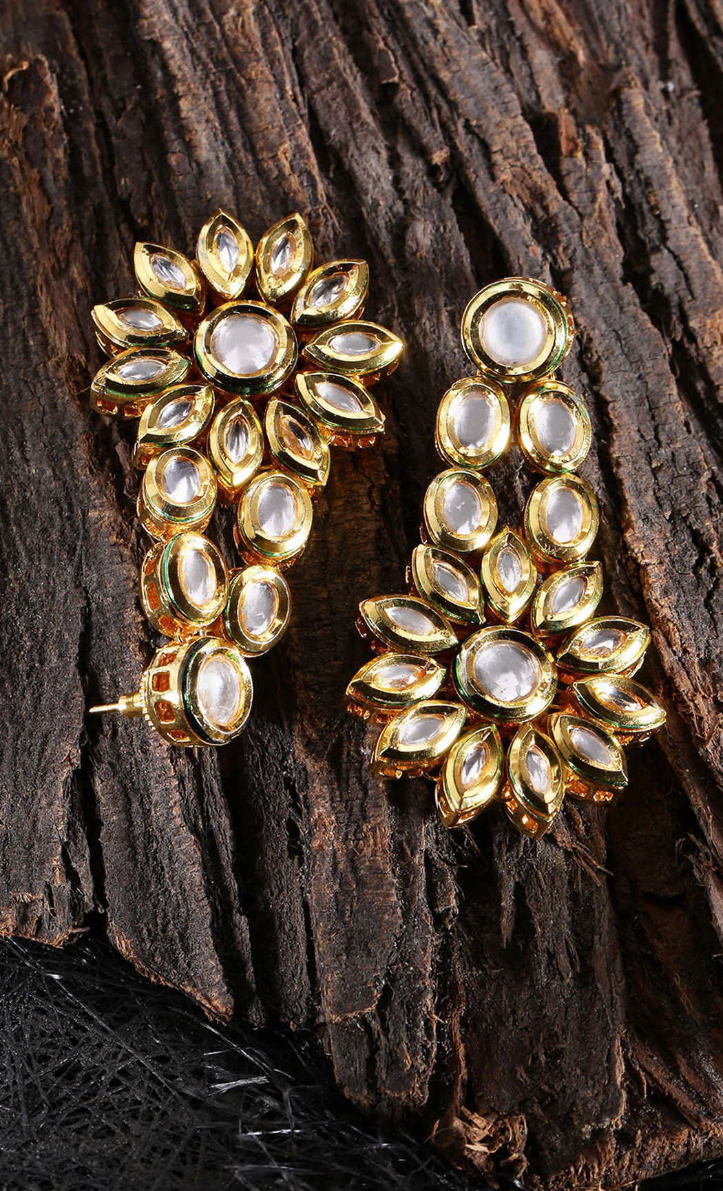 Gold-Plated Kundan-Studded Classic Drop Earrings. Buy Online