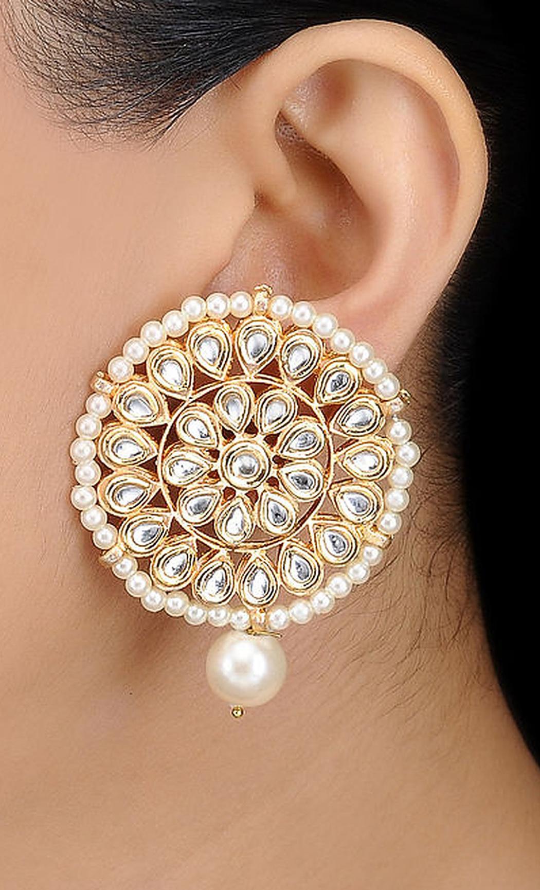 Gold Kundan and Pearl Beaded Earrings. Buy Online