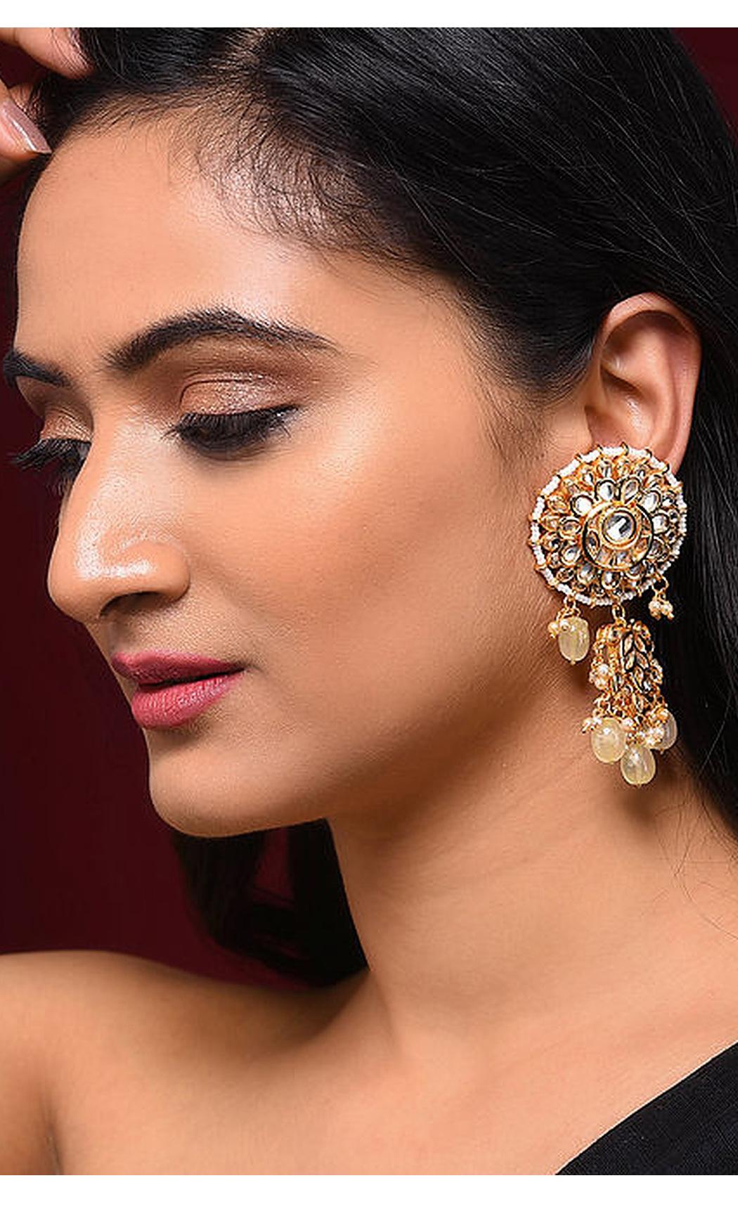 White and Gold Kundan Beaded Earrings. Buy Online