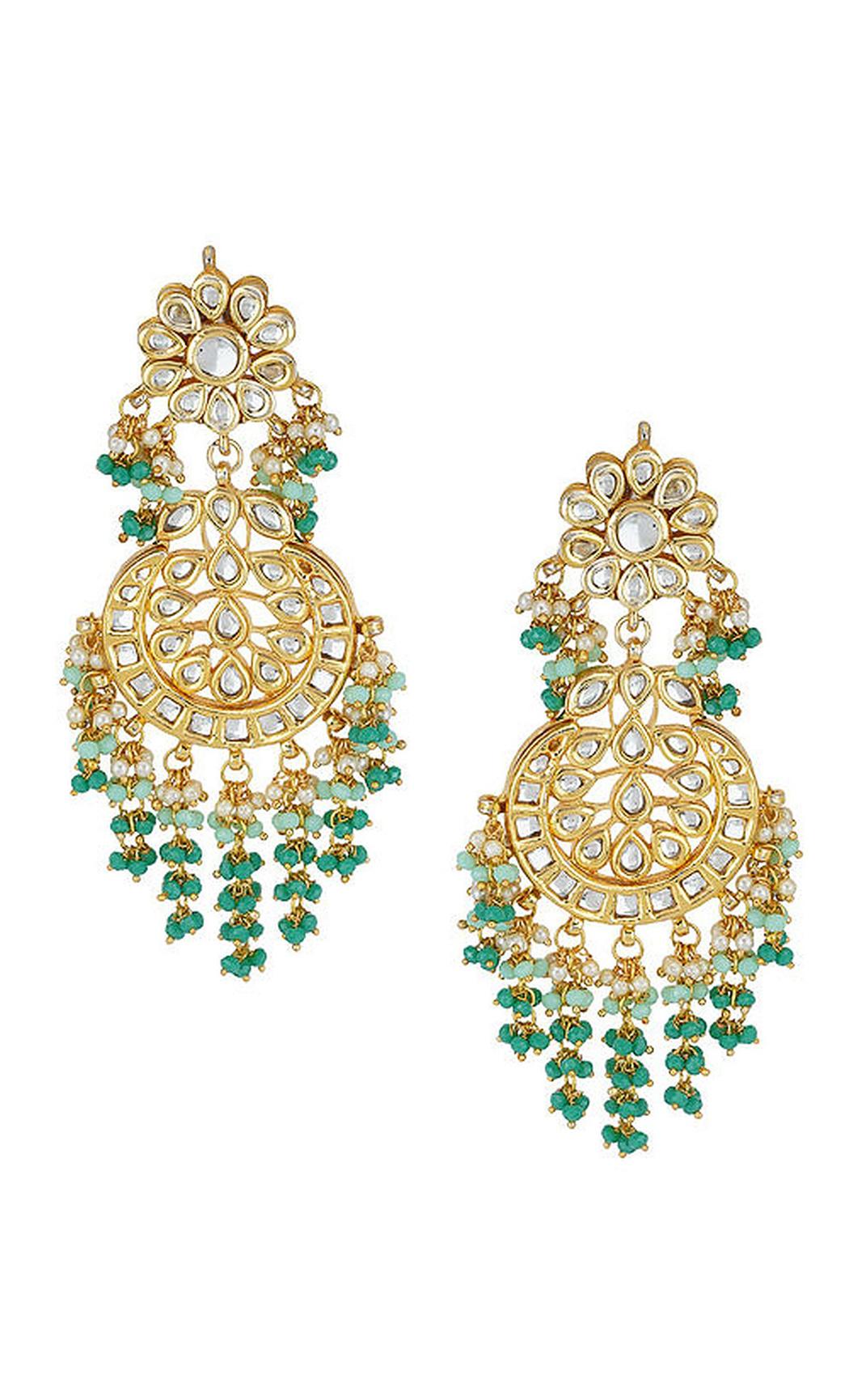 Green and Gold Kundan Earrings. Buy Online