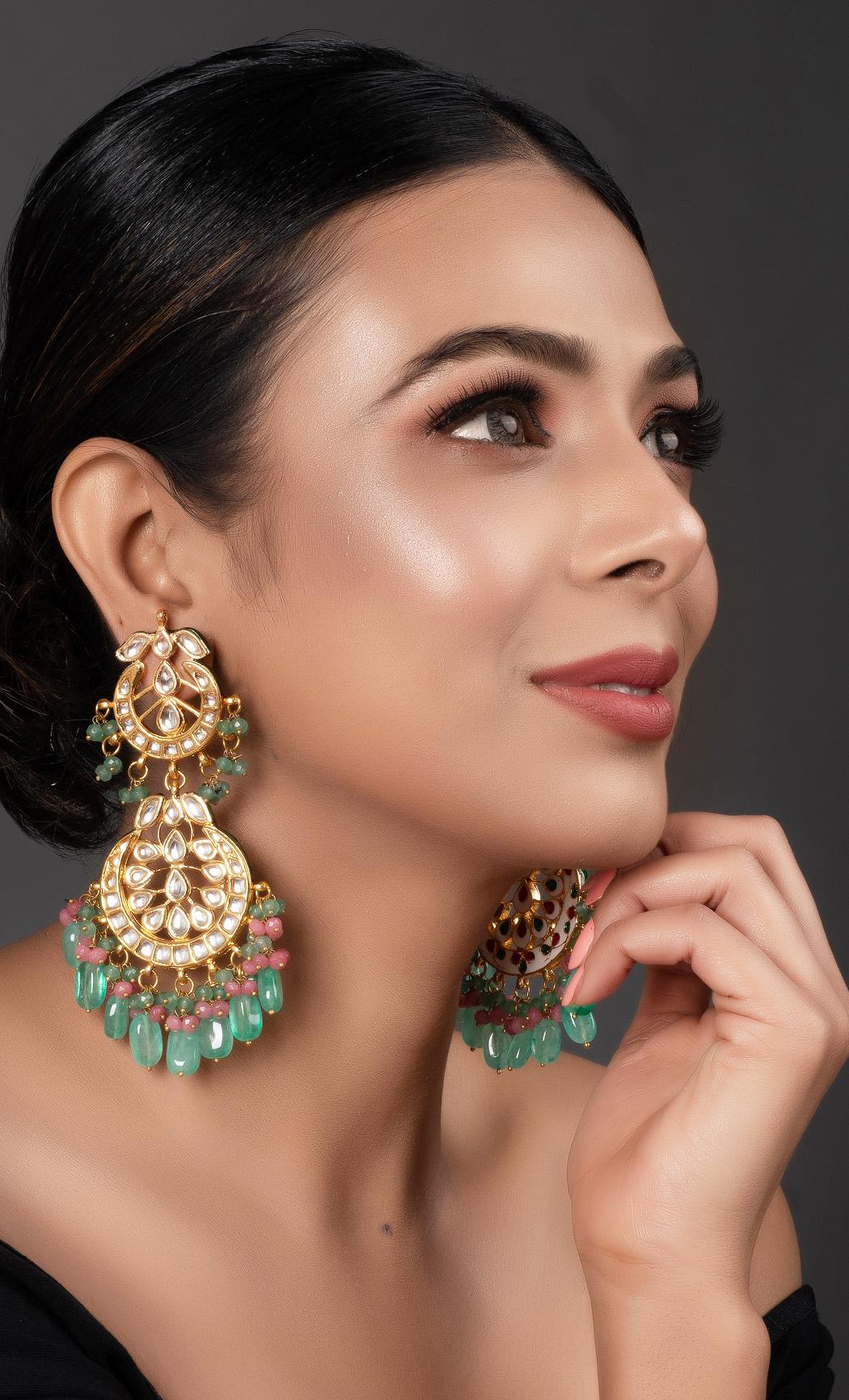 Multicolor Kundan Earrings. Buy Online