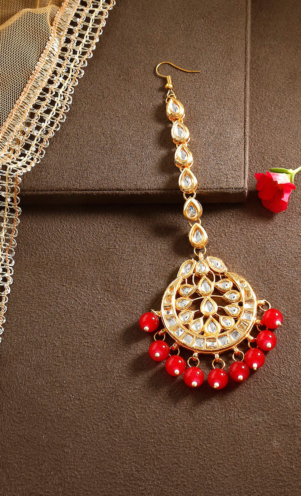 Gold and Red Kundan Maangtika. Buy Online