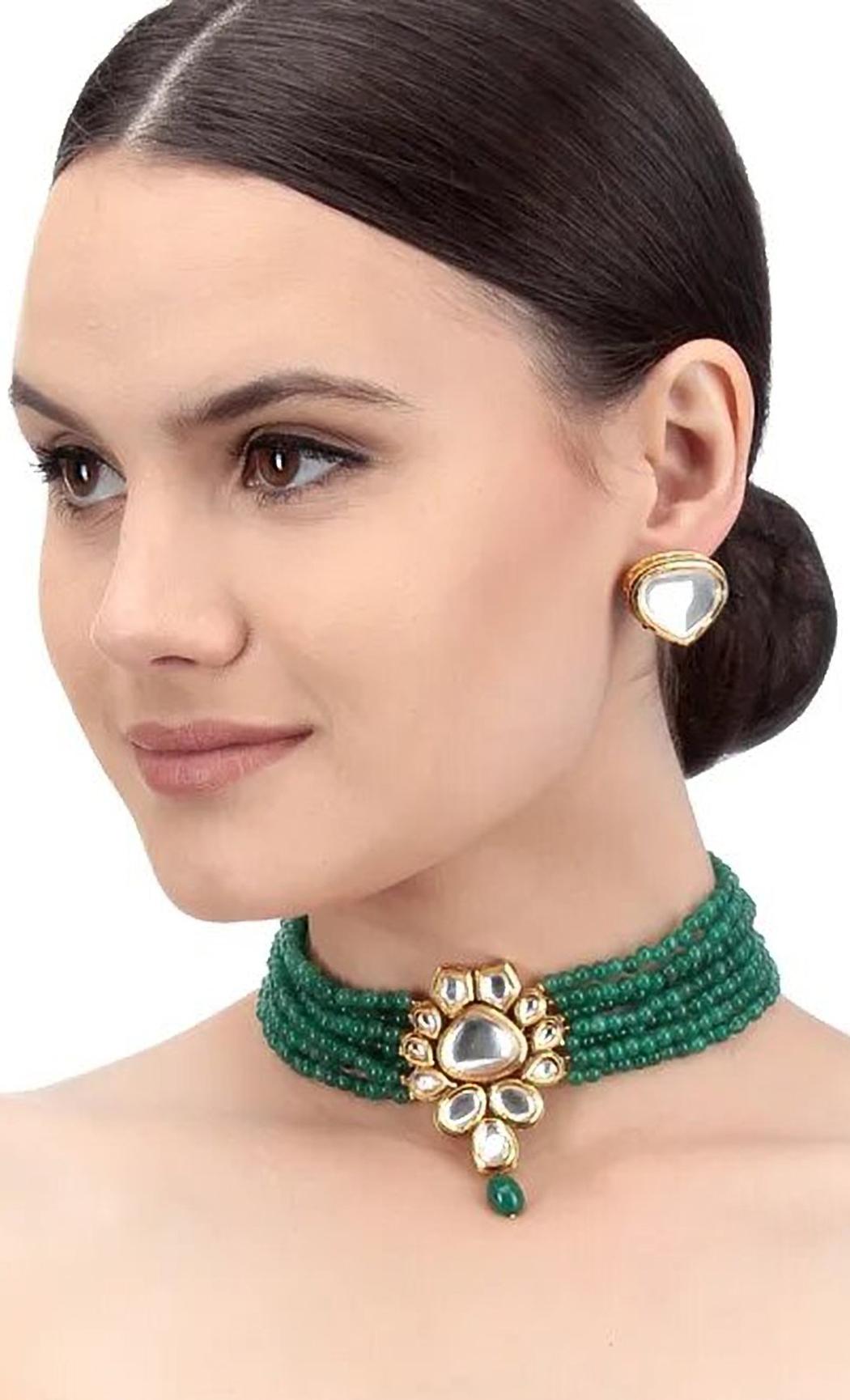 Green Beaded Kundan Necklace Set. Buy Online