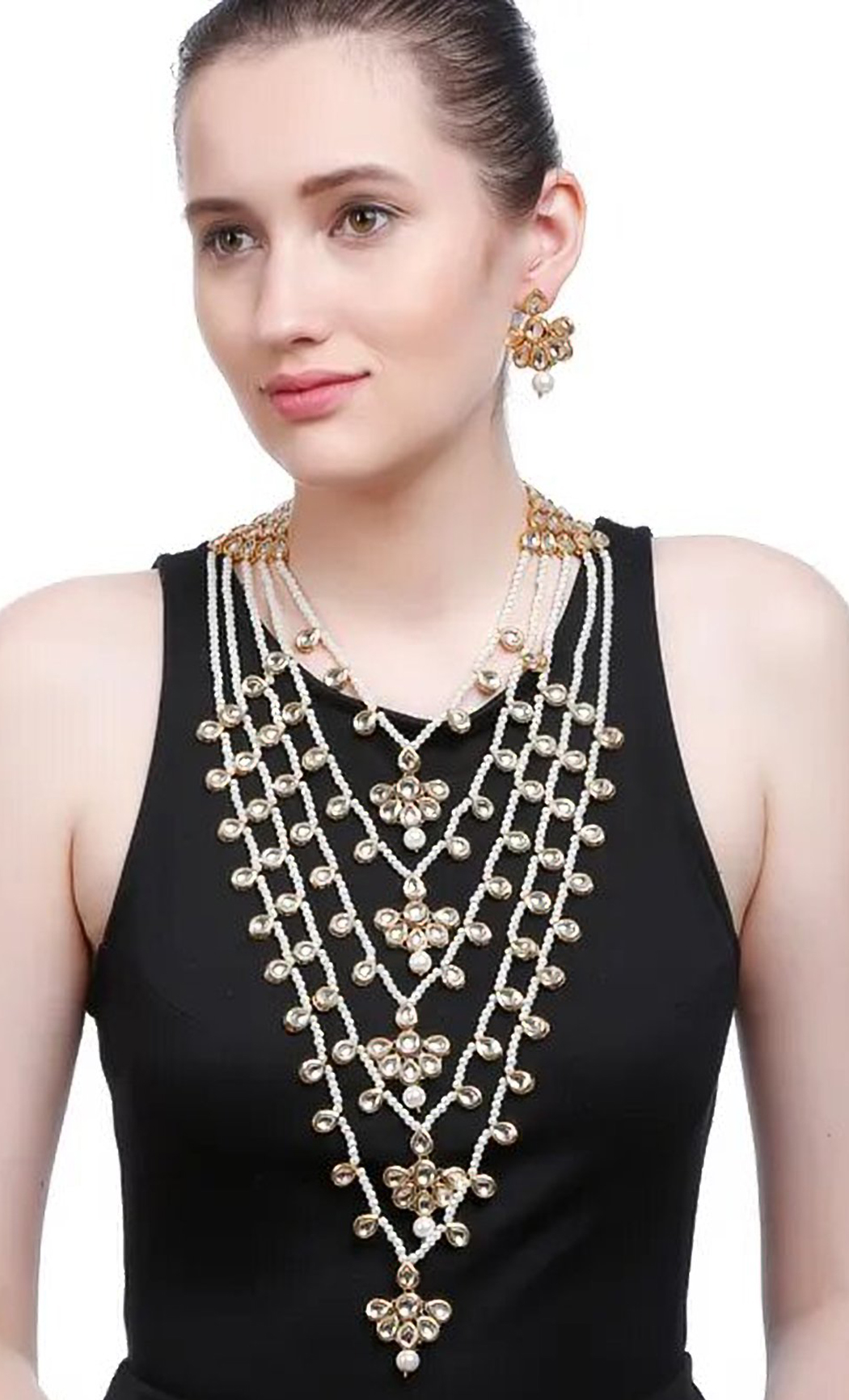 Gold and White 5 liner Pearl and Kundan Necklace Set. Buy Online