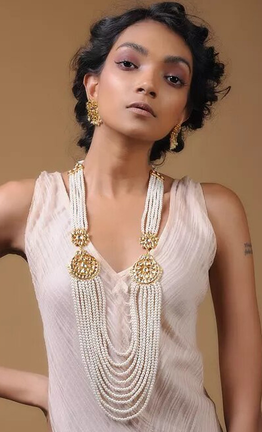White Kundan and Pearl Beaded Necklace Set. Buy Online