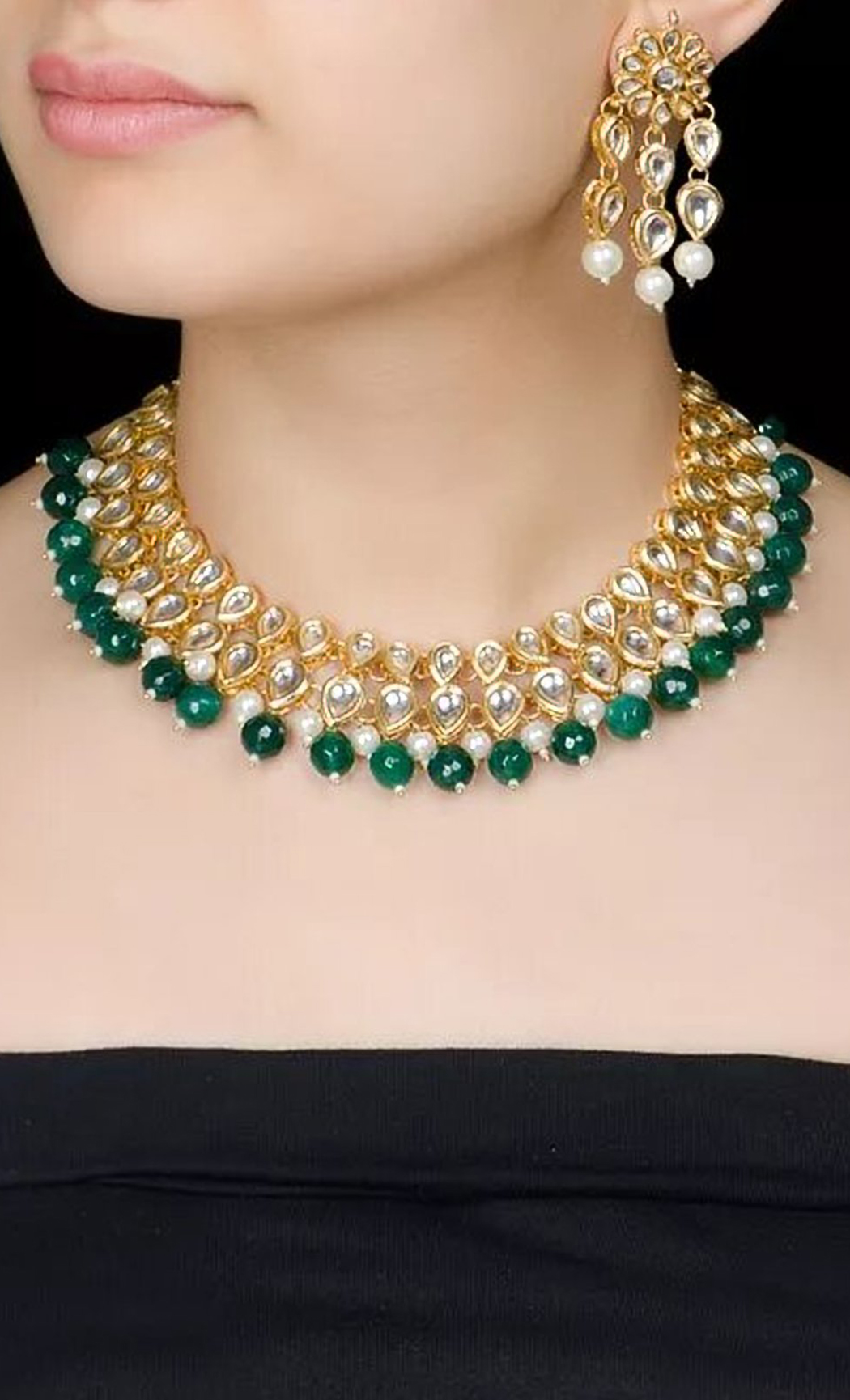 Green Pearl Beaded Necklace Set. Buy Online