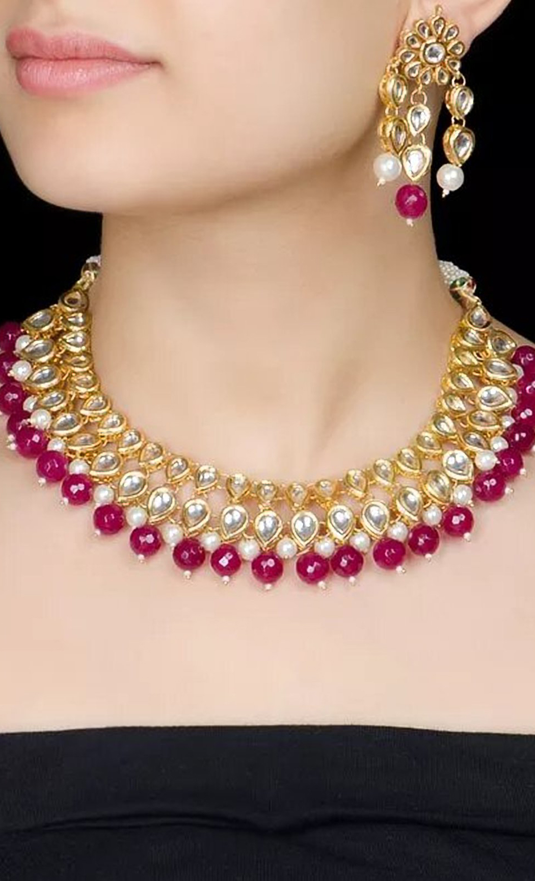 Maroon Pearl Beaded Necklace Set. Buy Online
