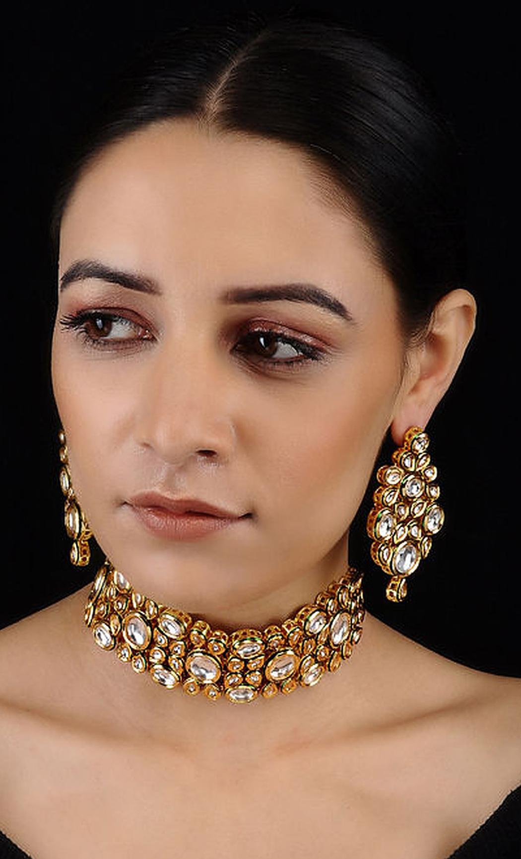 Gold Royal Kundan Necklace Set. Buy Online