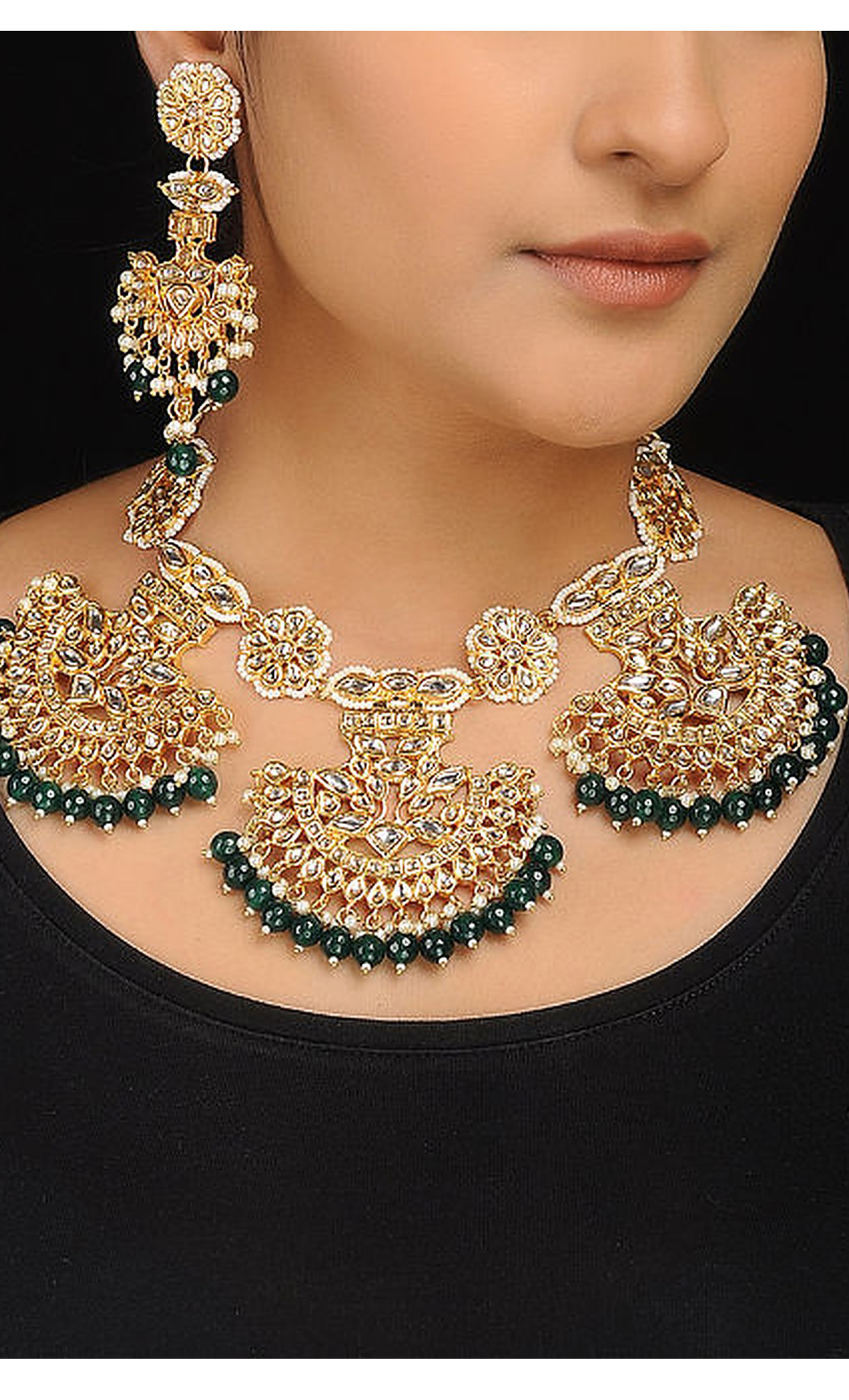 Gold and Green Kundan with Pearl Beaded Necklace Set. Buy Online