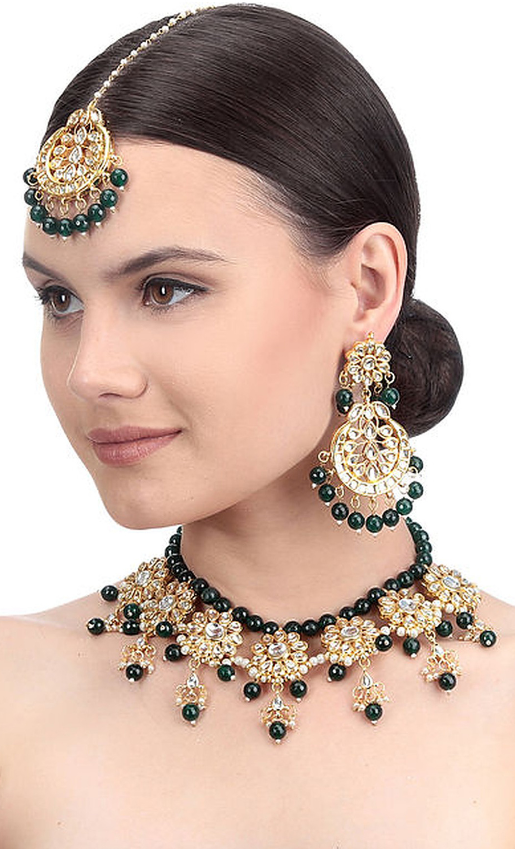 Gold and Green Kundan Necklace Set with Mangtika. Buy Online