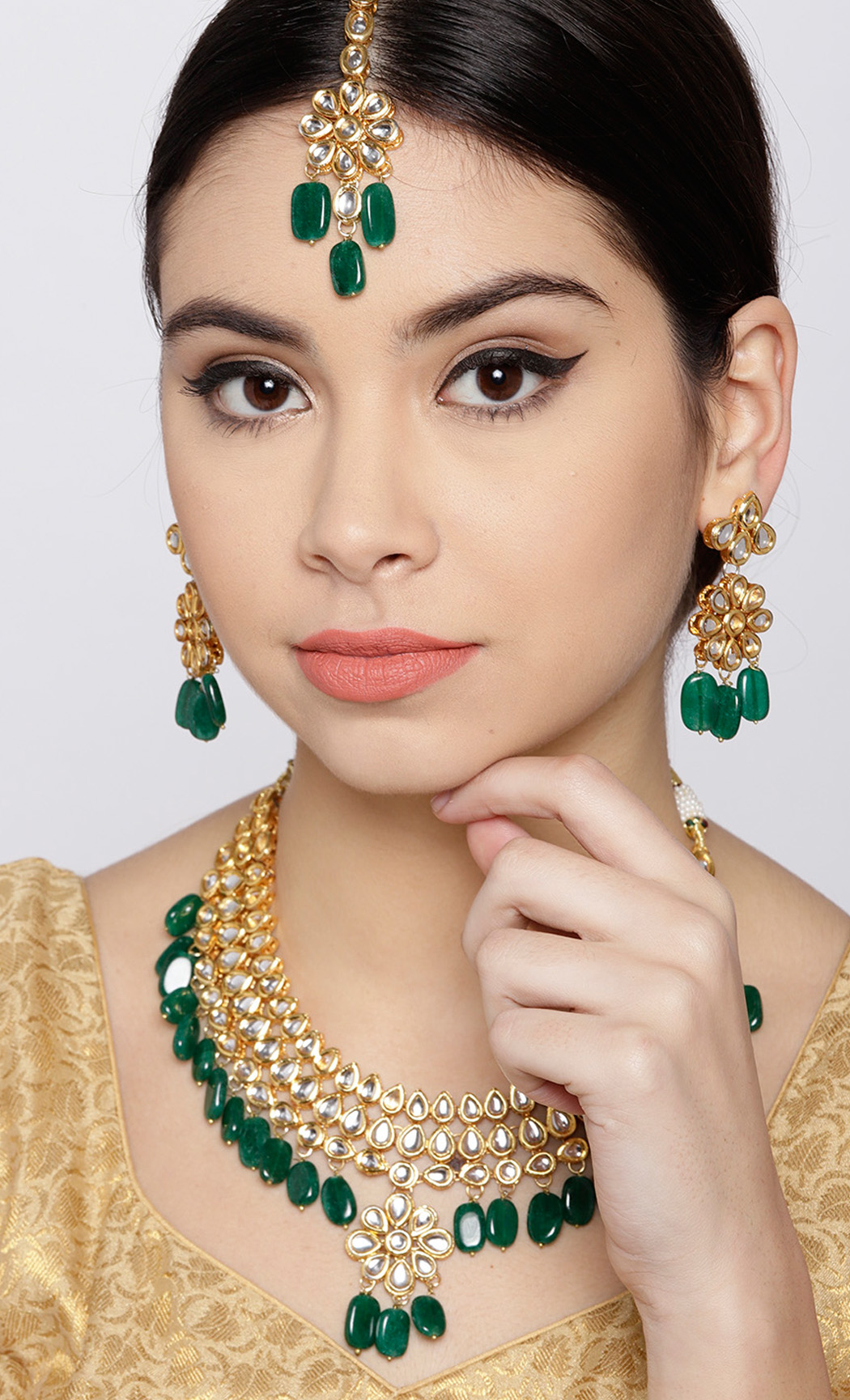 Gold-Green Kundan and Emerald Beaded Necklace Set. Buy Online