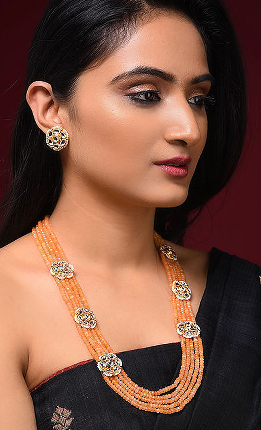 Peach Gold Tone Kundan Beaded Necklace Set. Buy Online
