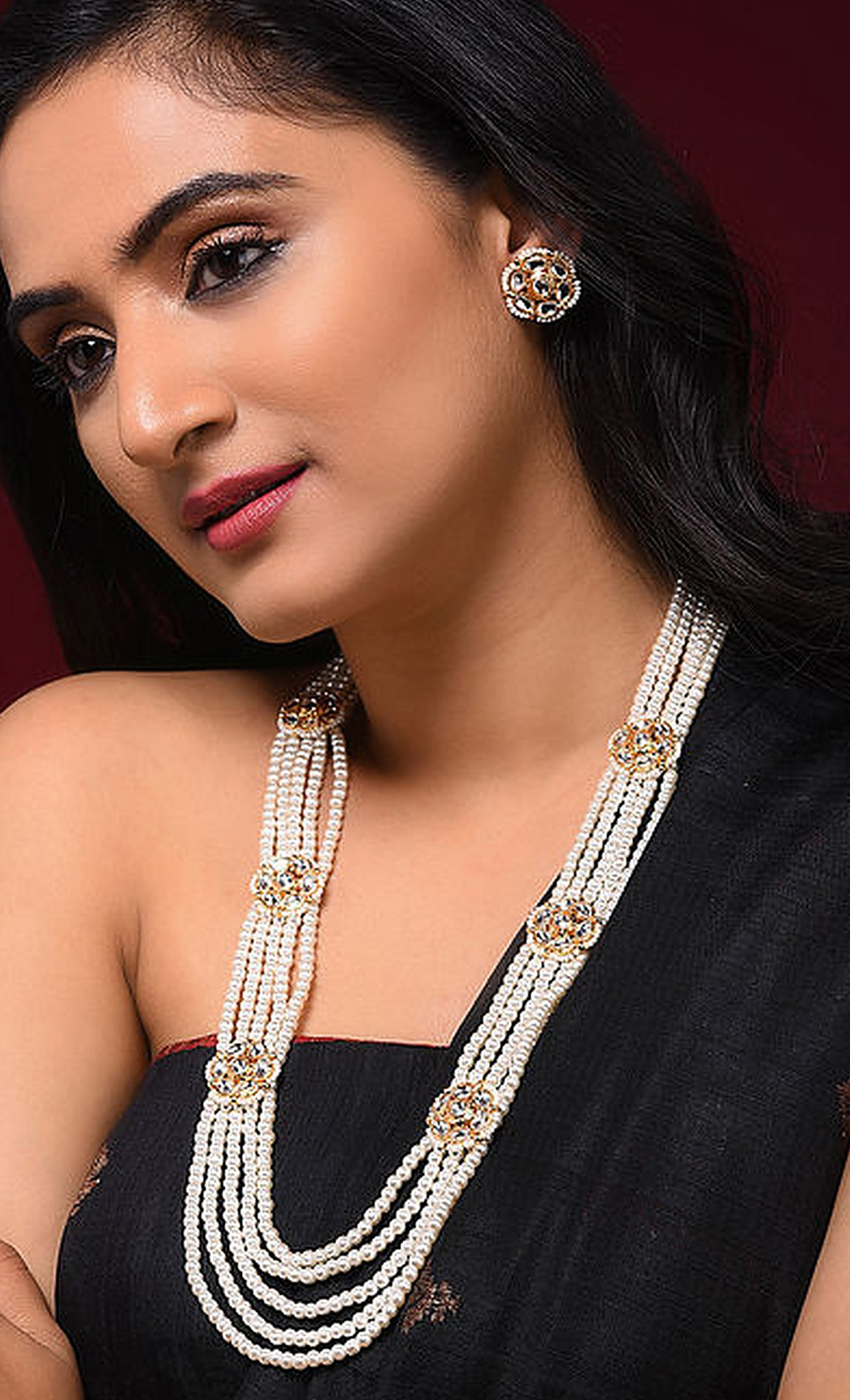 White Gold Tone Kundan Beaded Necklace Set. Buy Online