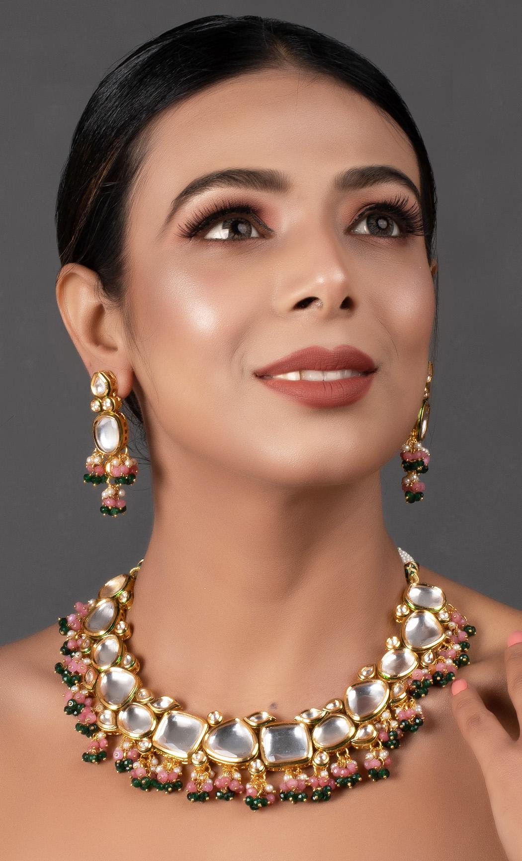 Pink Green Gold Tone Kundan Necklace Set. Buy Online