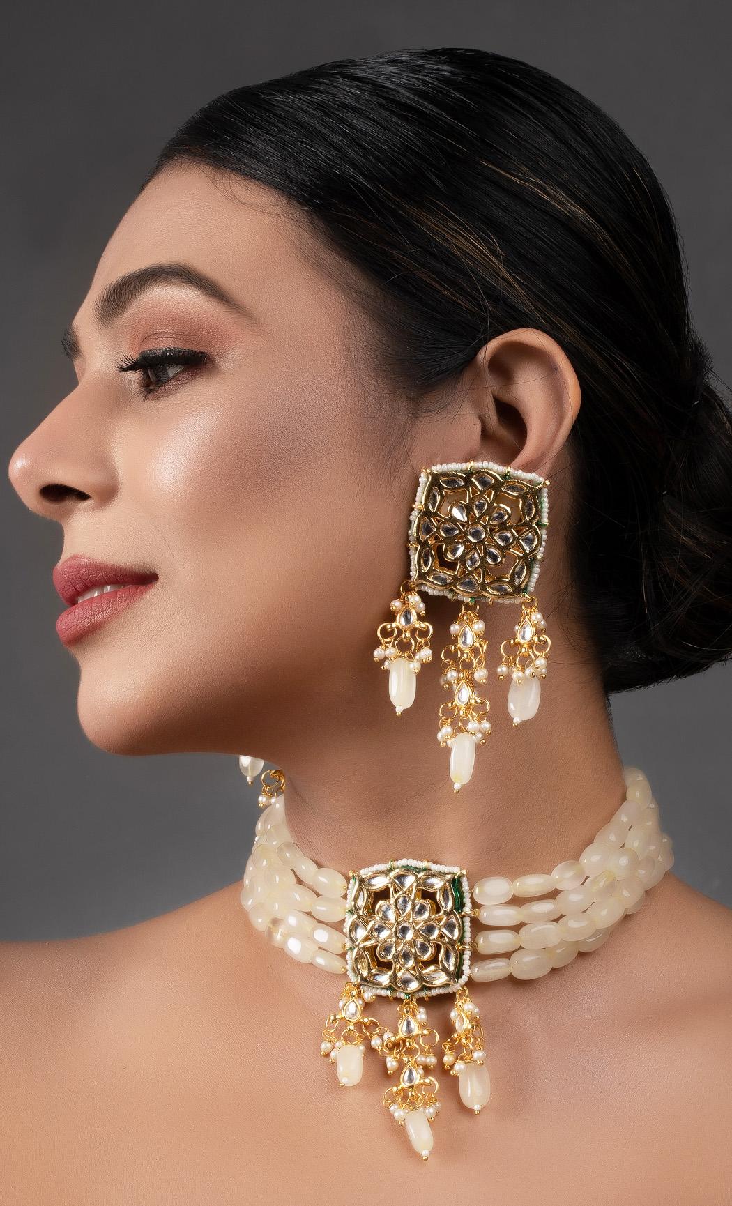 Cream Gold Tone Kundan Choker Set. Buy Online