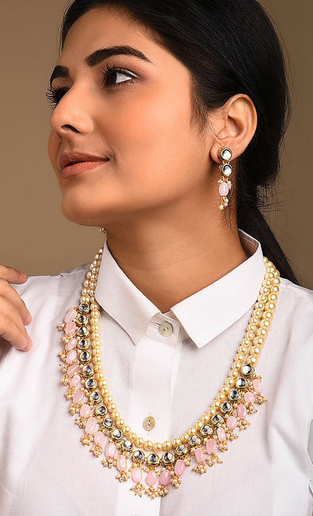 Ivory and Pink beaded Kundan Necklace Set. Buy Online