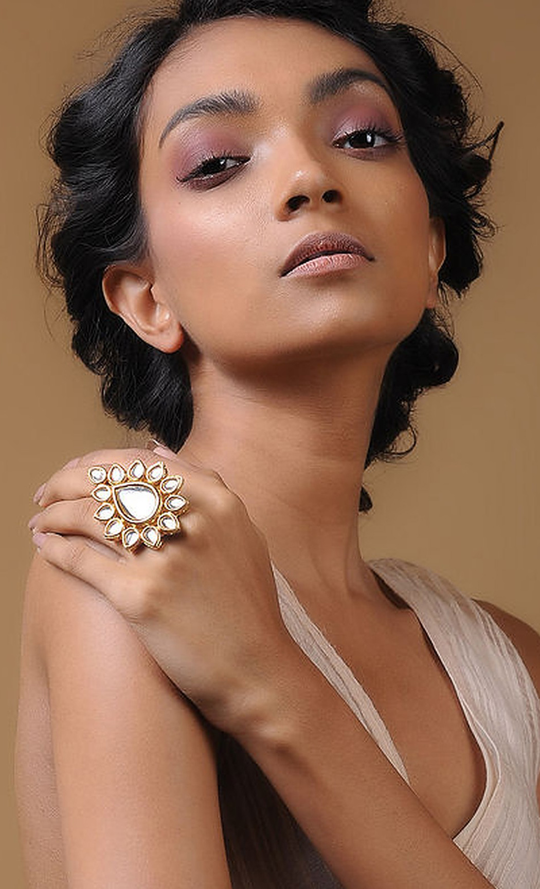 Classic Gold Kundan and Pearl Beaded Adjustable Ring. Buy Online