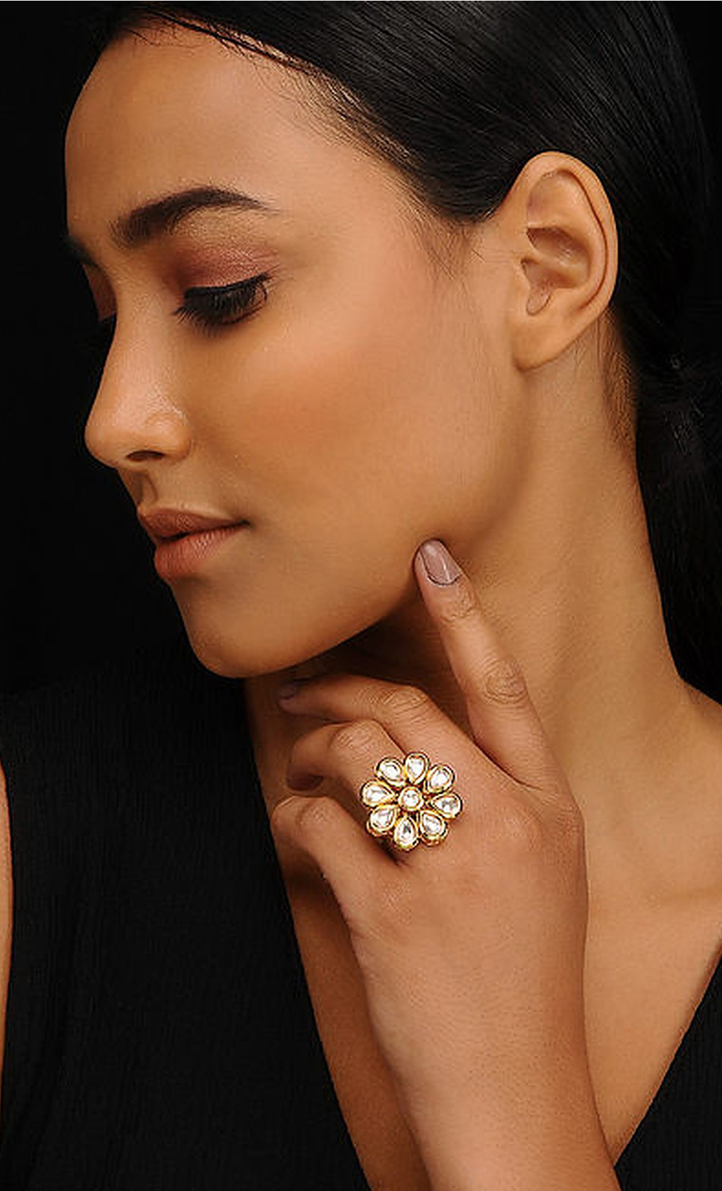 Gold Kundan Adjustable Ring. Buy Online